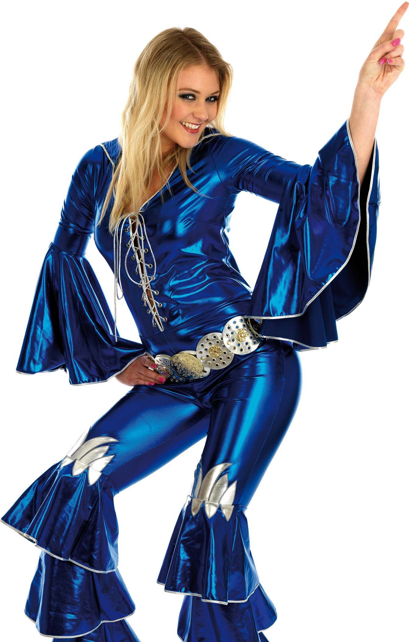 Blue Dancing Queen Fancy Dress Costume Ladies 1970s