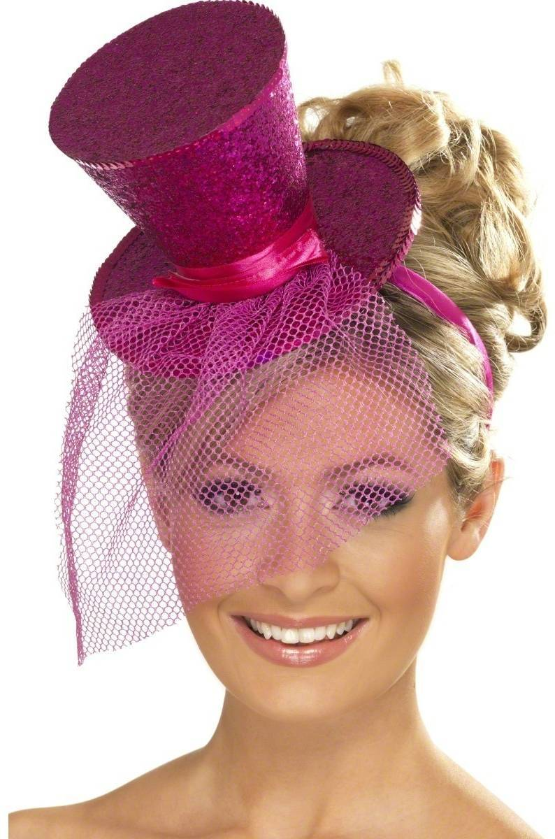 Ladies Fever Mini Top Hat On Headband Fancy Dress