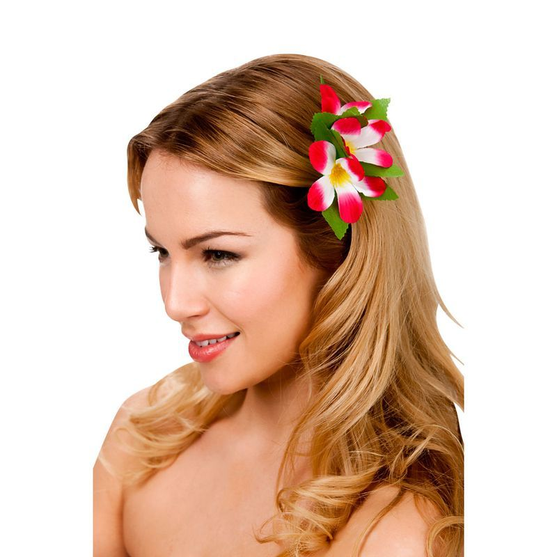 HOT PINK HAWAIIAN FLOWER HAIR CLIP FANCY DRESS ACCESSORY