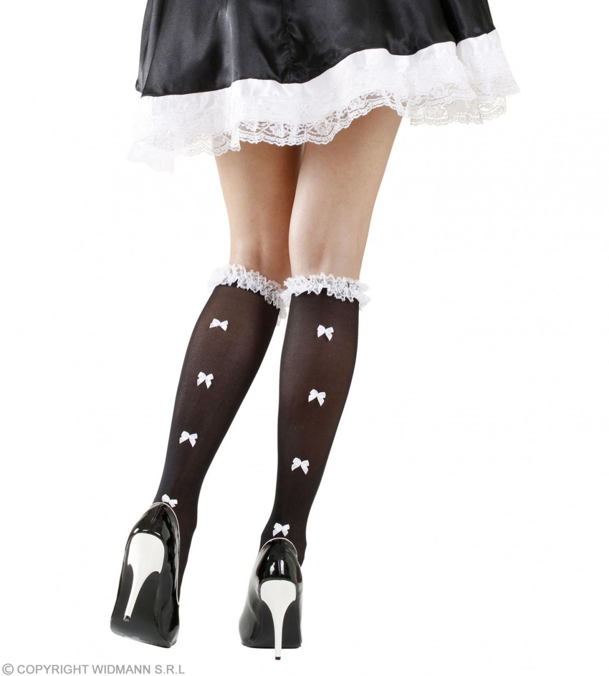 7decdde8b3777 Ladies Black French Maid Style Socks With Ruffle Lace Trim & White Bows