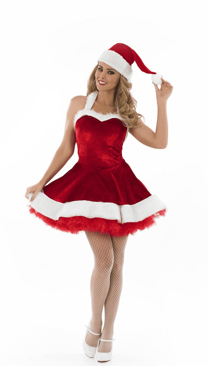 Ladies Sexy Christmas Tutu Costume Includes Dress And Hat