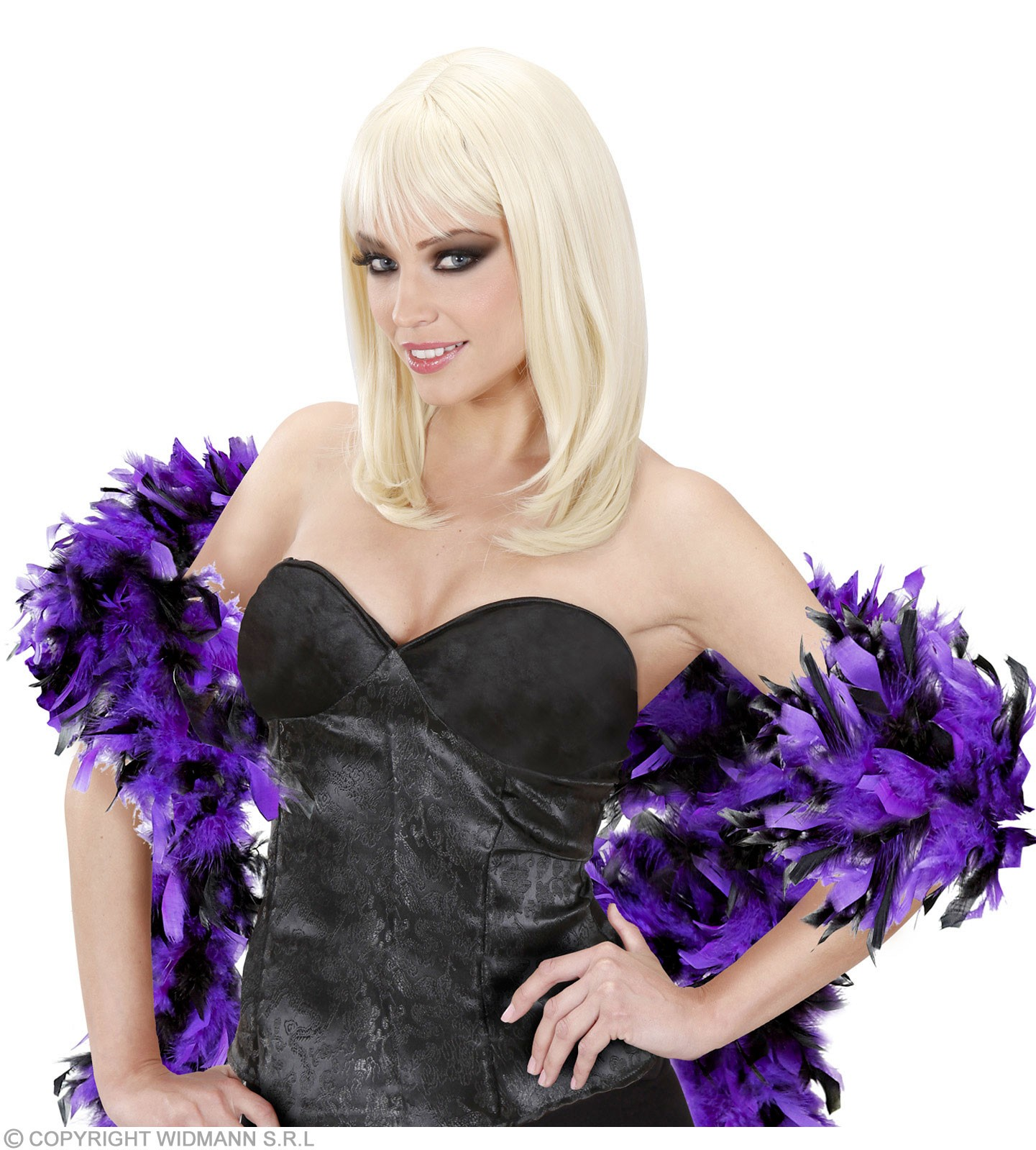 Feather Boa Bicolour 180Cm Purp/Blk - Fancy Dress
