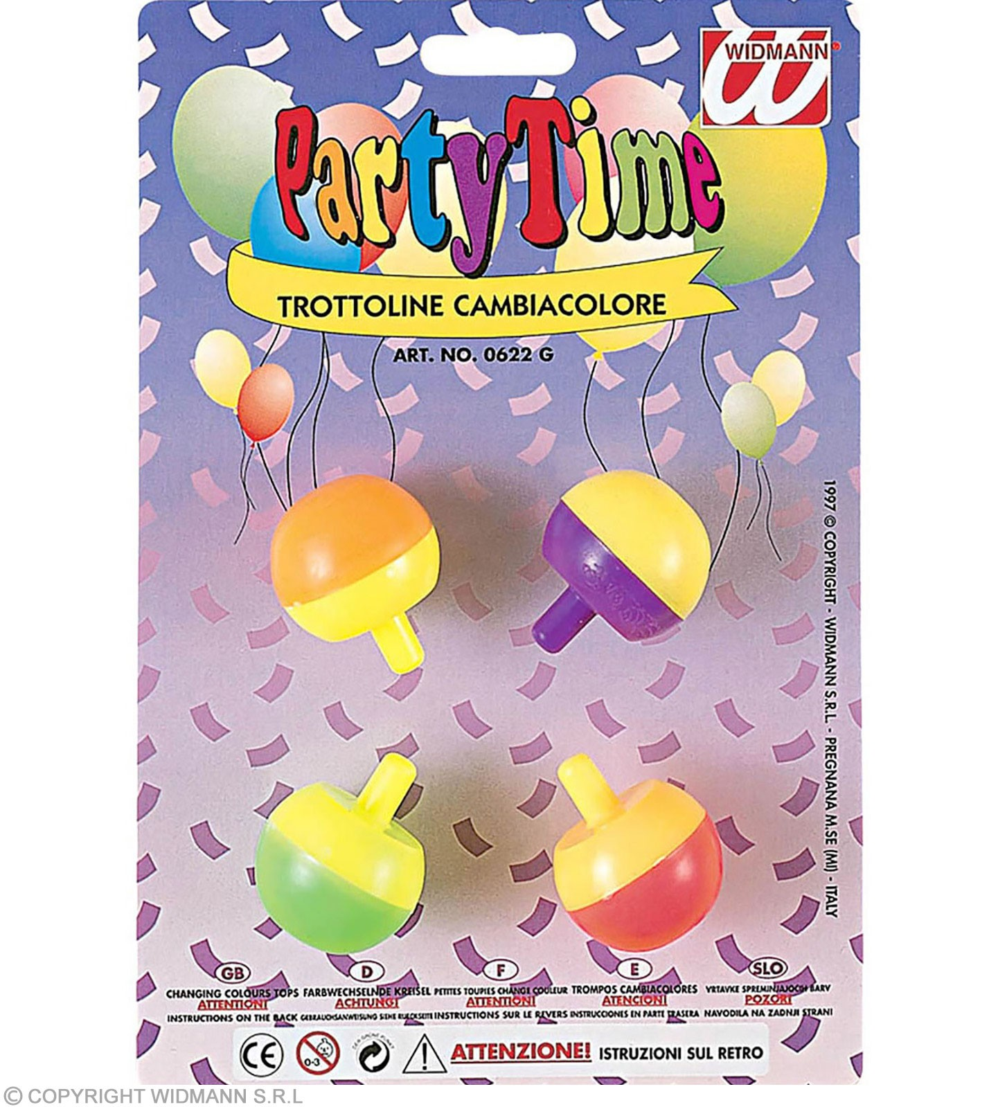 4 Changing Colour Spinning Tops Fancy Dress