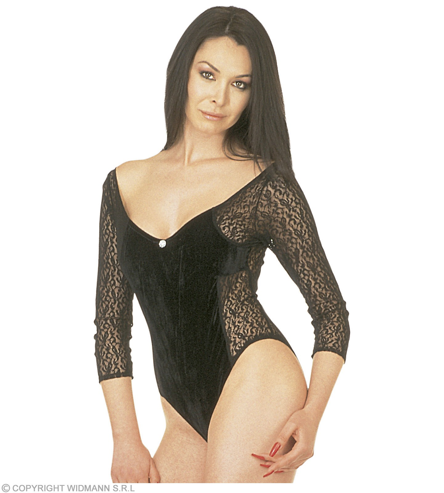Lady Leotard Black Velvet/Lace - Fancy Dress