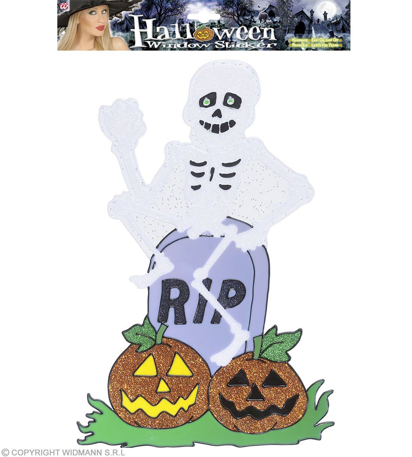 Skeleton On Tombstone Window Stickers 38Cm, Fancy Dress (Halloween)