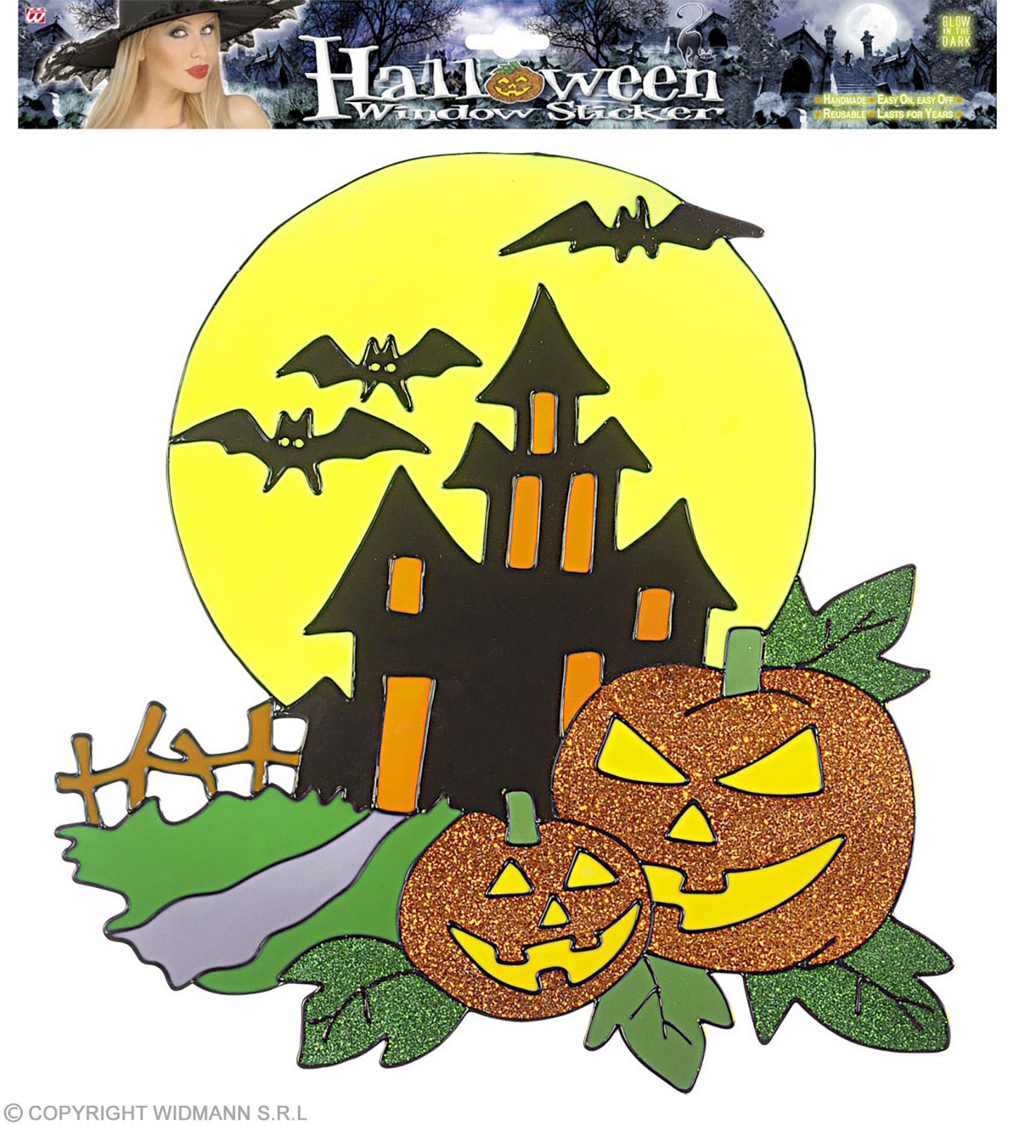 Haunted House & Pumpkins Window Stickers 3, Fancy Dress (Halloween)