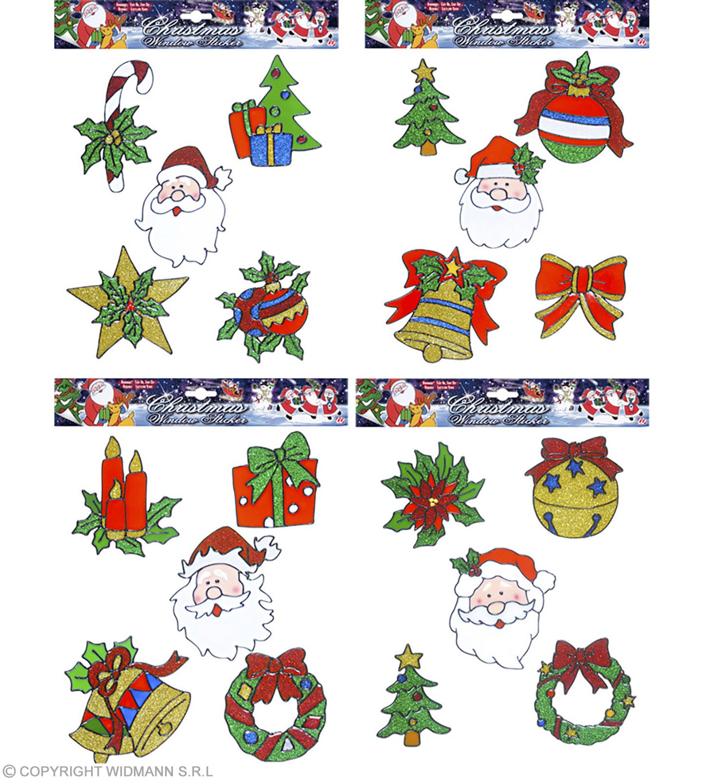 Set 5 Assorted Xmas Window Stickers Wi, Fancy Dress (Christmas)