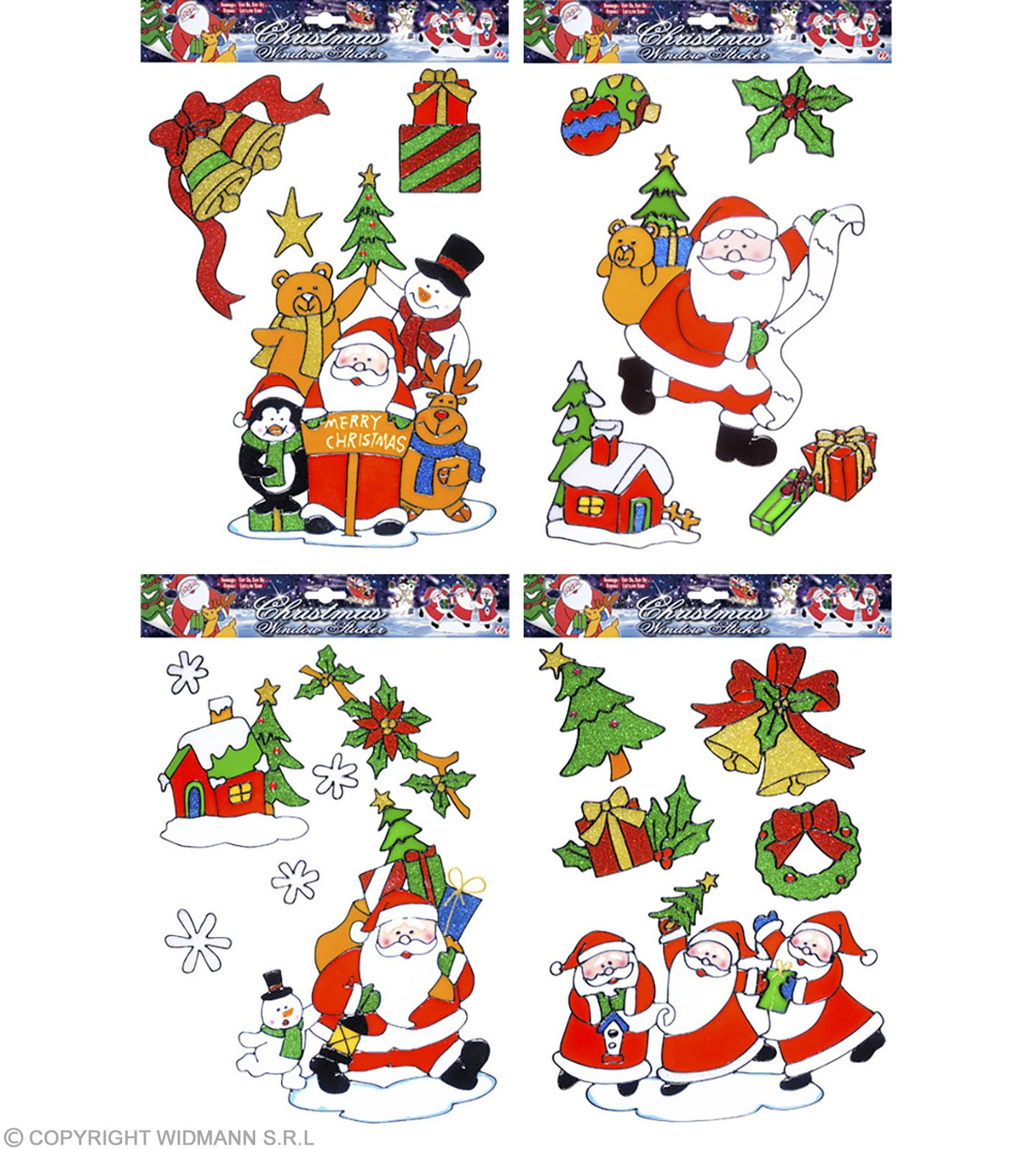 Asstd Christmas Window Stickers With - Fancy Dress (Christmas)