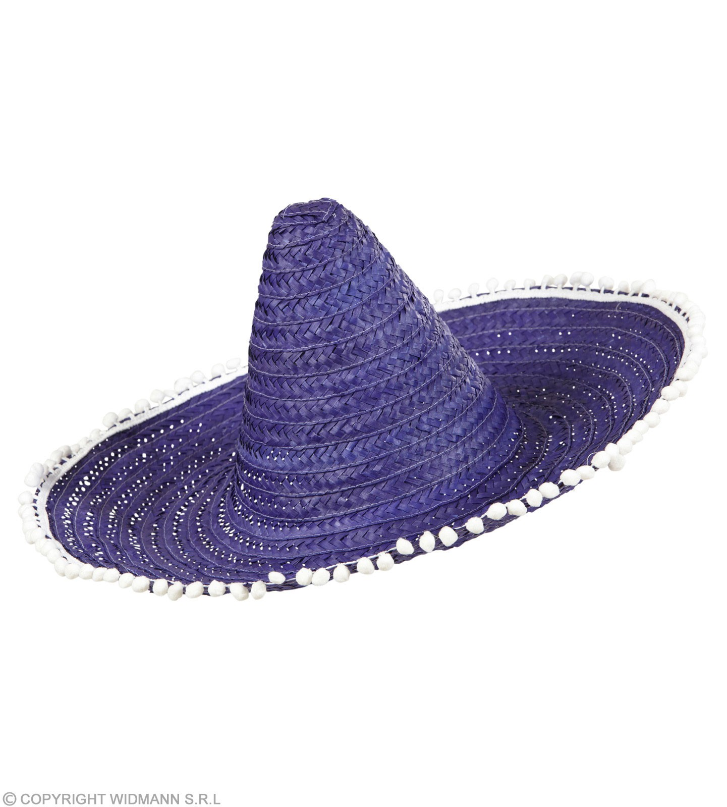 Boys Sombrero W/Pom Poms 50Cm - Blue/Purple Hats - (Blue, Purple)