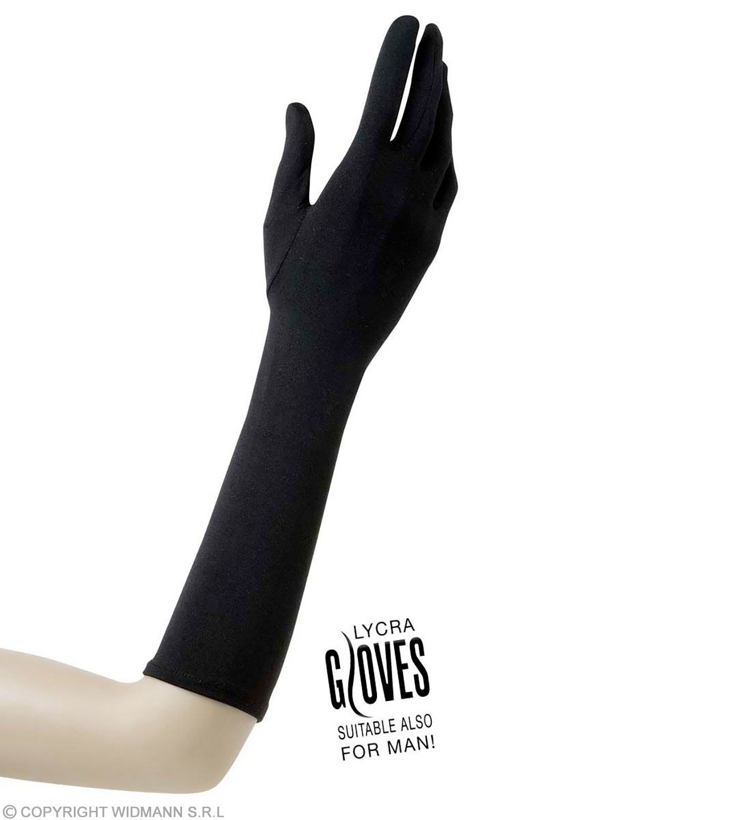 Gloves Lycra 37Cm - Black - Fancy Dress