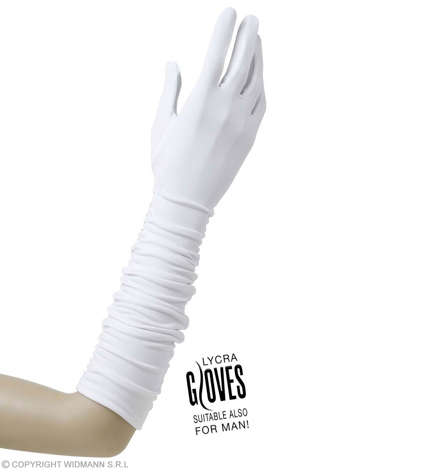 Plisse Lycra Gloves - White - Fancy Dress