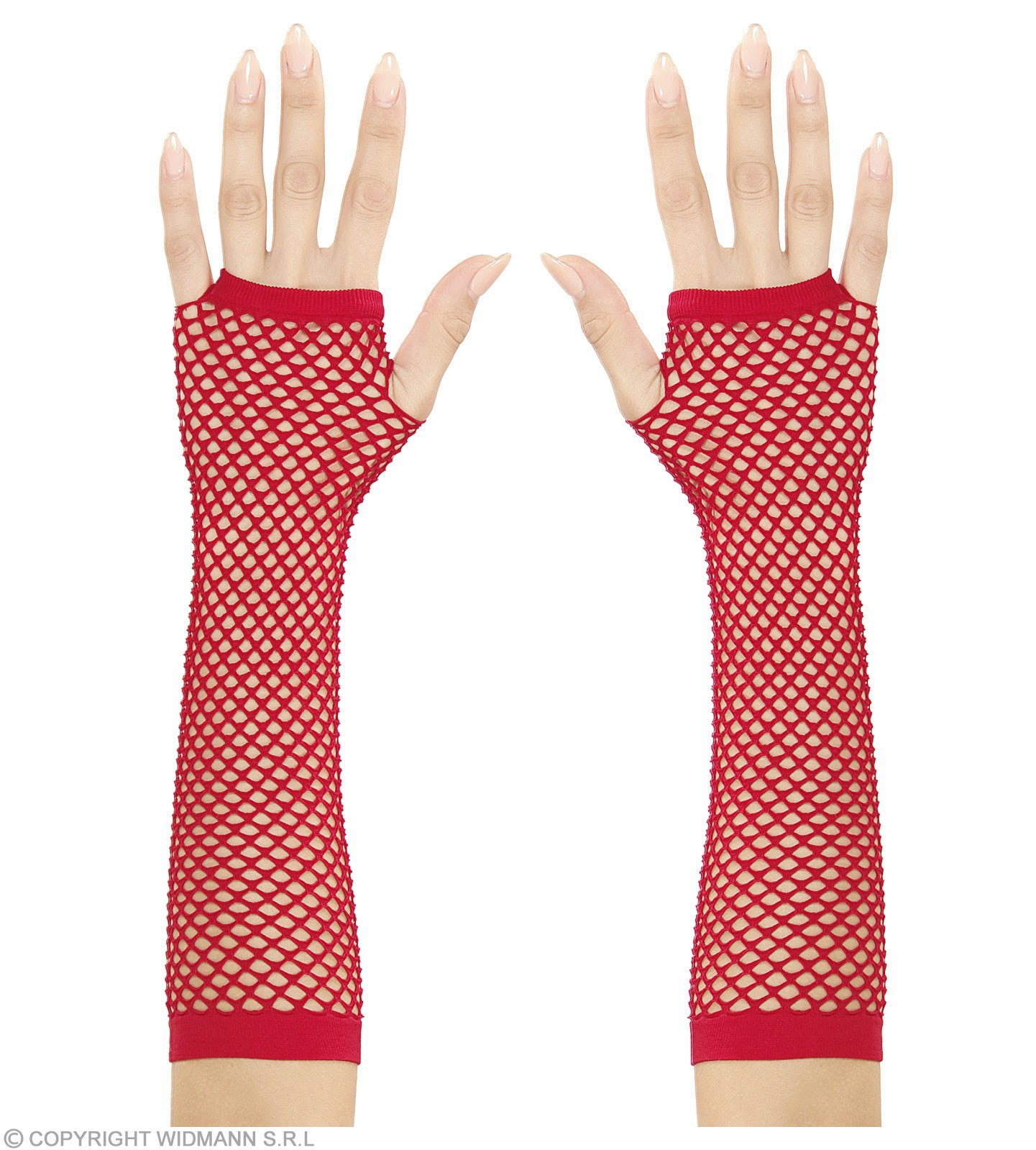 Fingerless Fishnet Gloves Red 33Cm - Fancy Dress