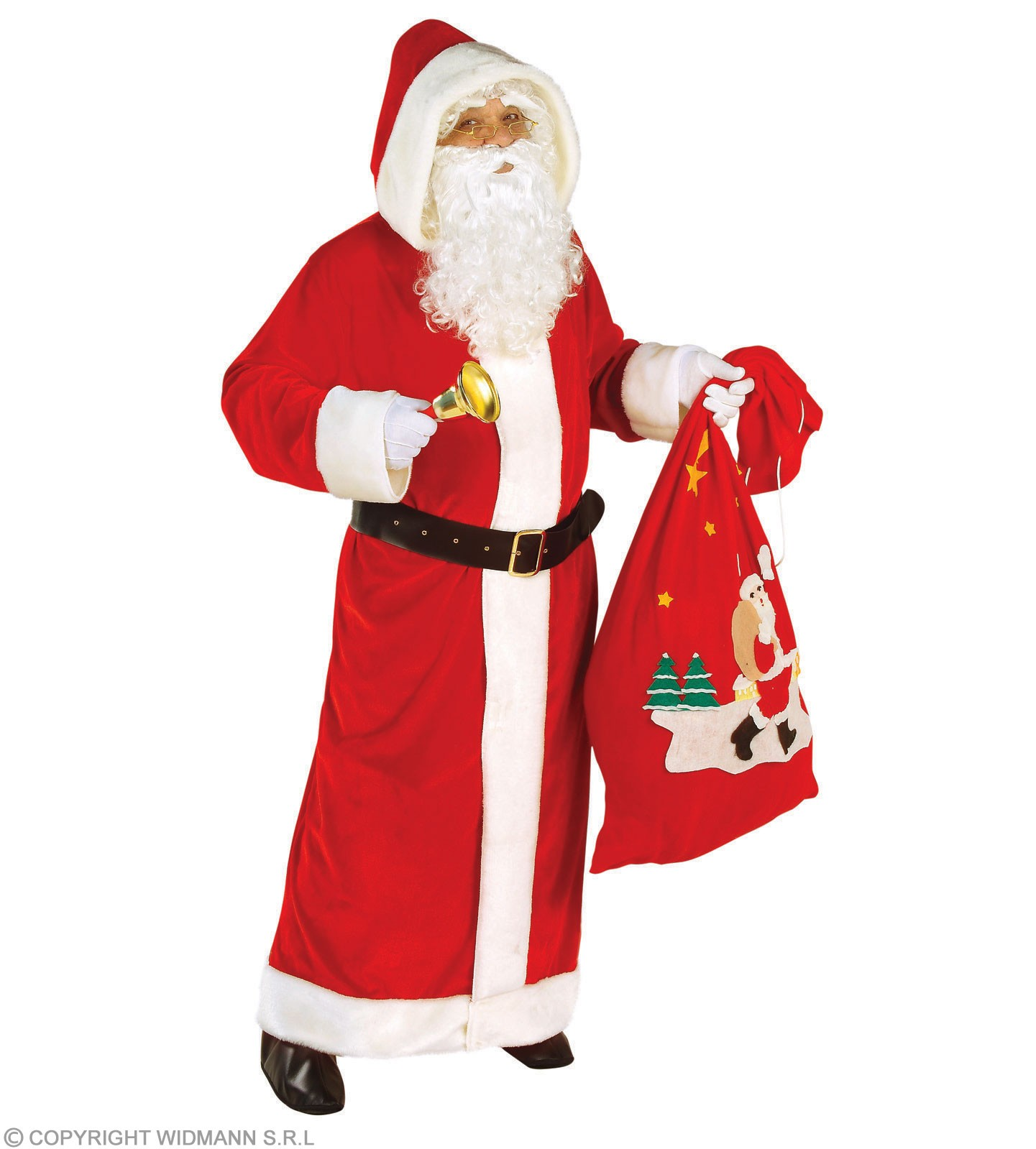 Xl Santa Coat Hooded Velvet Fancy Dress Costume (Christmas)