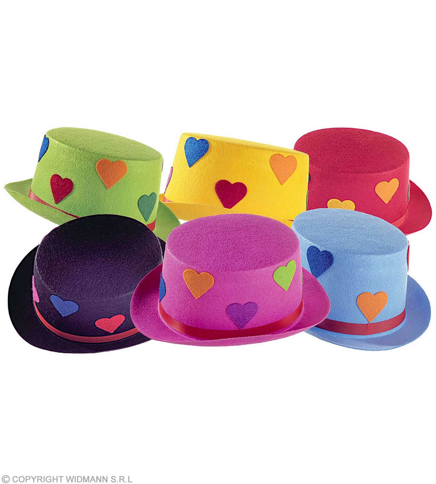Top Felt Heart 6 Cols Asstd - Fancy Dress