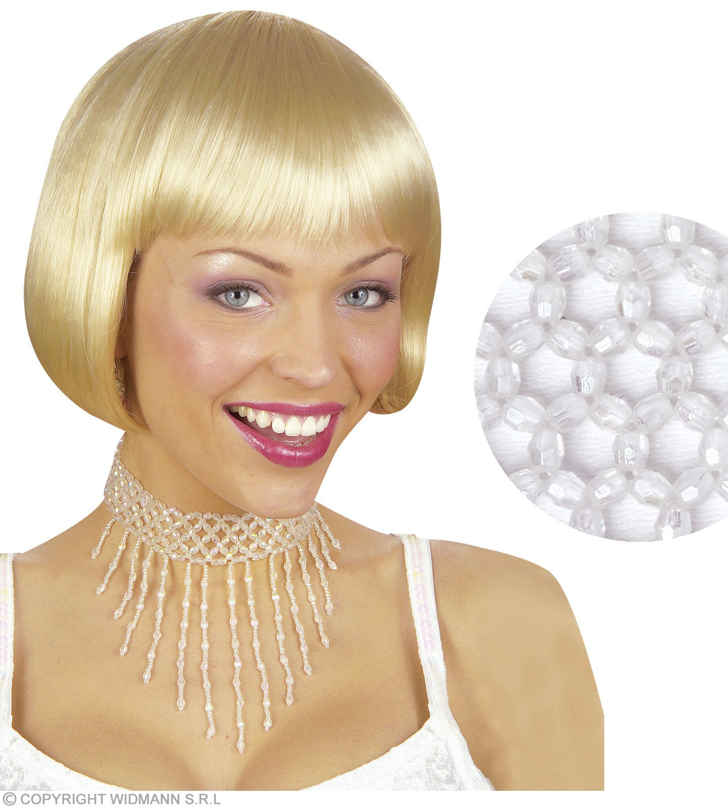 Beaded Choker - White - Fancy Dress