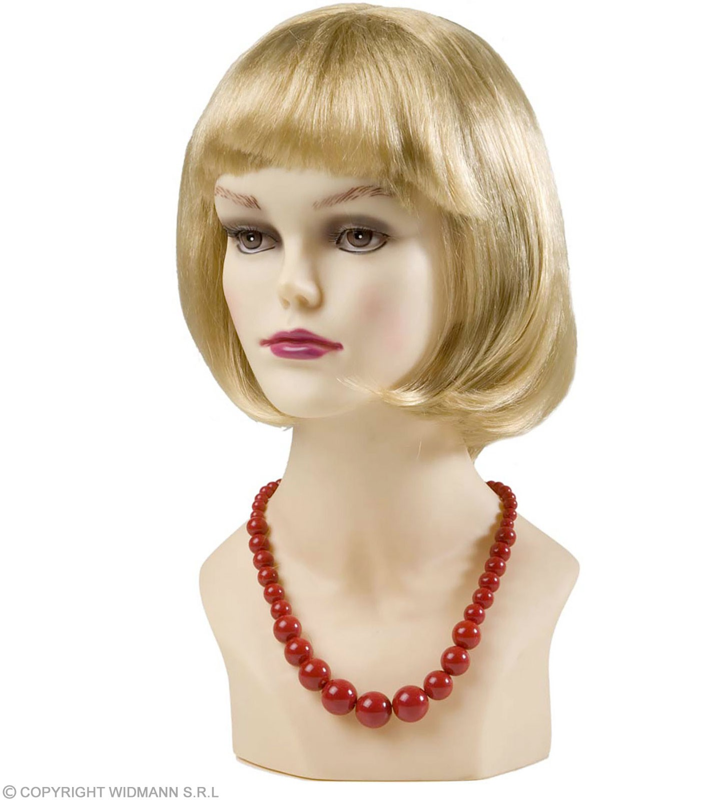 70S Beaded Necklace - Red - Fancy Dress (1970S)