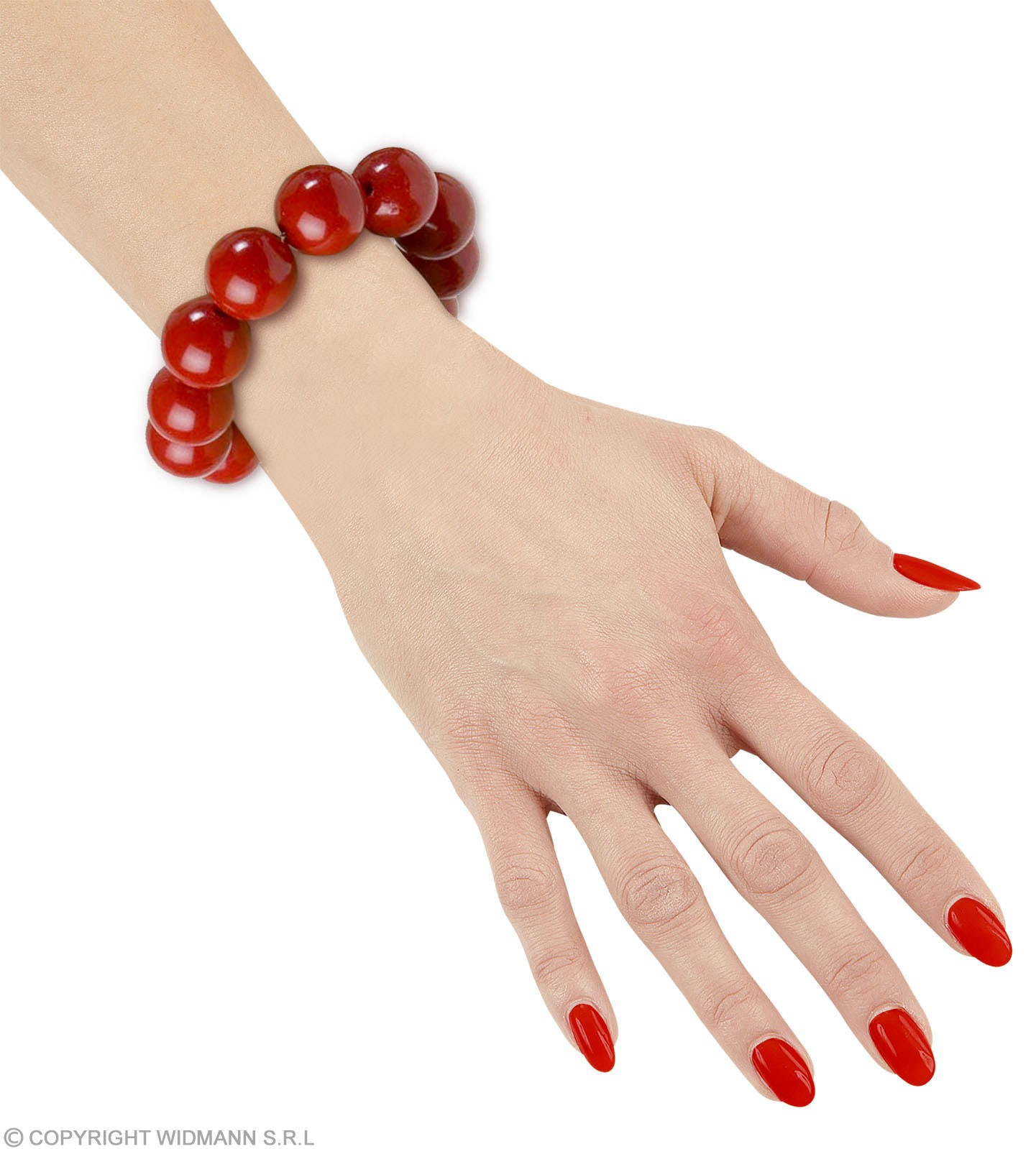 70S Beaded Bracelet - Red - Fancy Dress (1970S)
