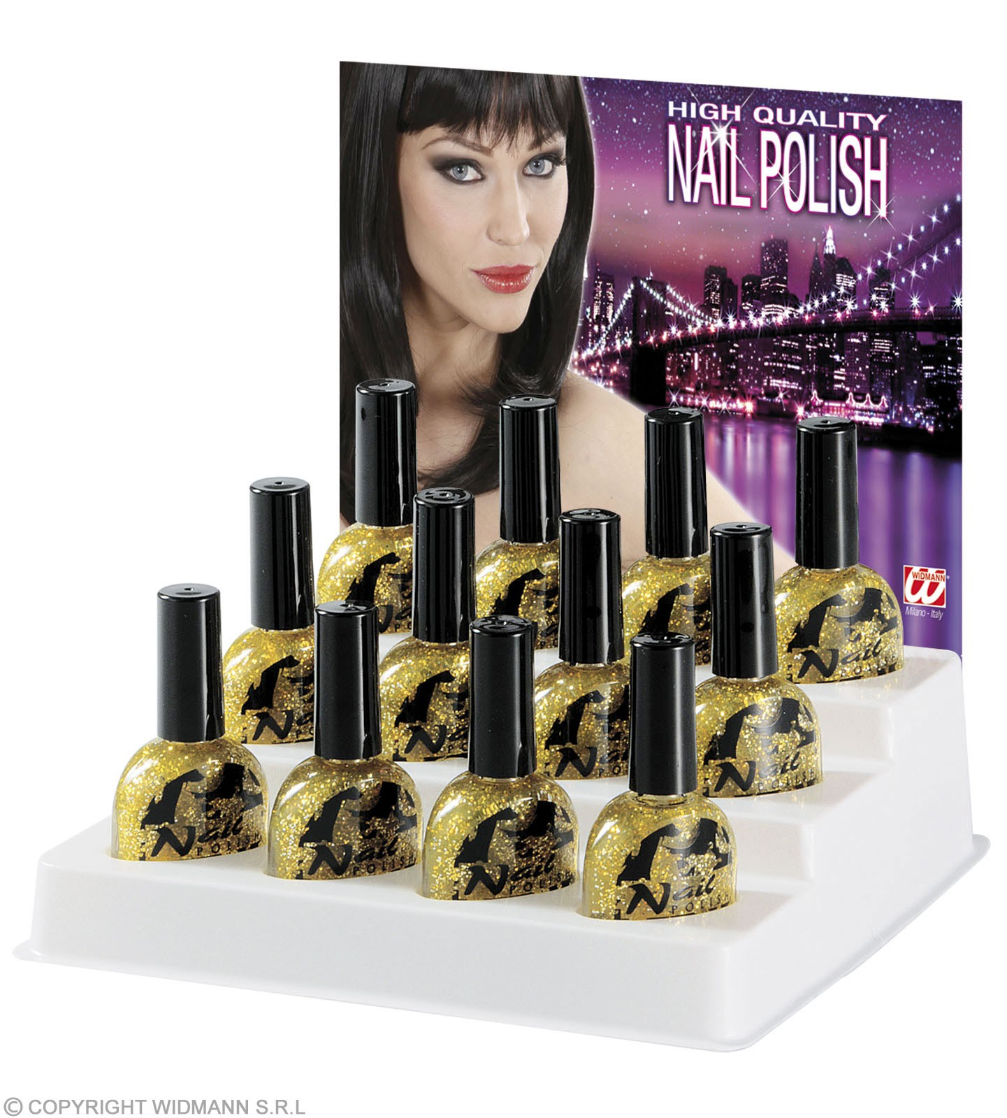 Glitter Nail Polish Gold 7Ml - Fancy Dress