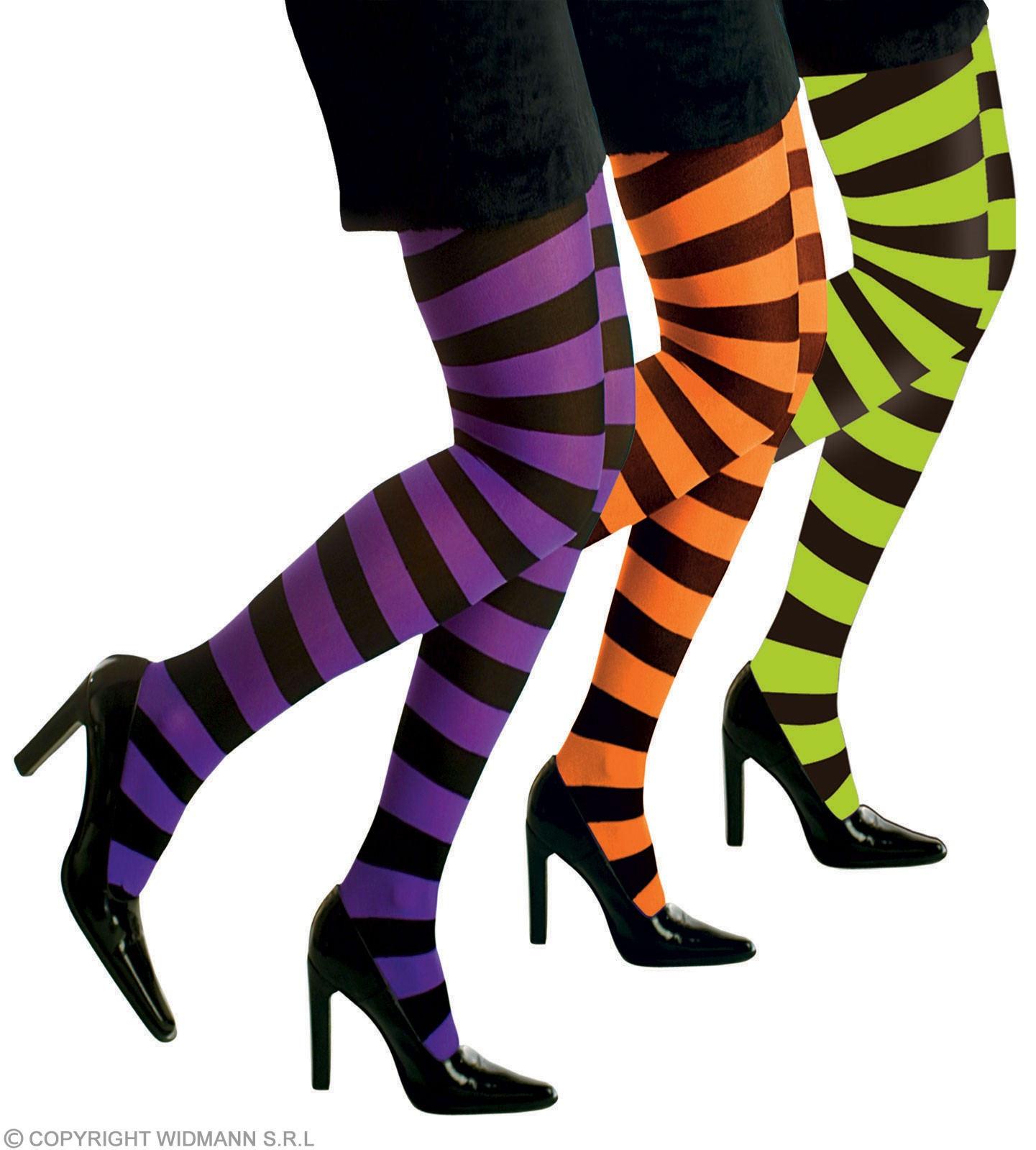 Xl Pantyhose Neon Stripe 3 Col 70 Den - Fancy Dress