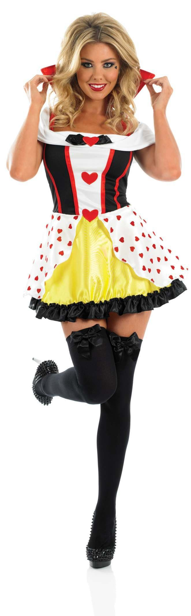 Ladies Queen Of Hearts Fairy Tales Outfit - Size 28-30 (Black, White)