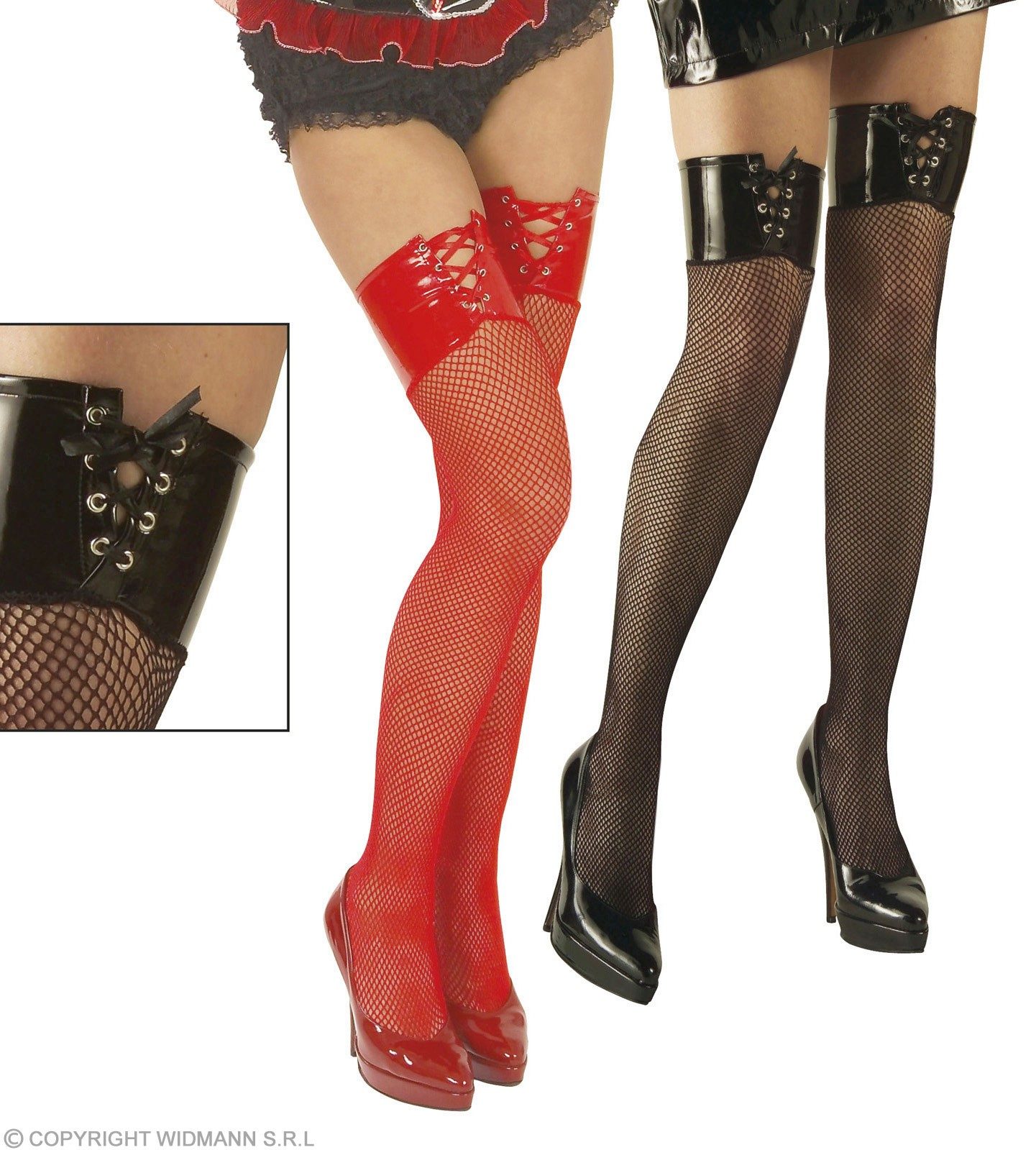 Xl Vinyl Top Fishnet Thighhighs 8 Black & 4 Fancy Dress