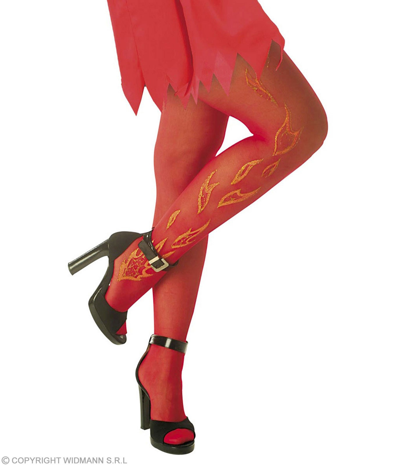 Xl Pantyhouse Red Glitter Flames 15 Den - Fancy Dress