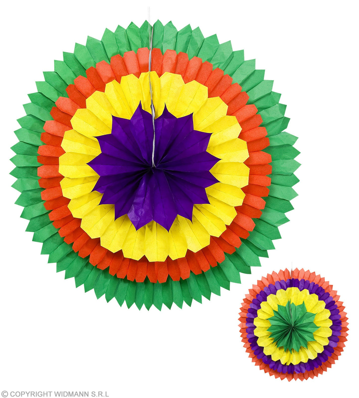3D Color Paper Fans 2 Cols 56Cm - Fancy Dress
