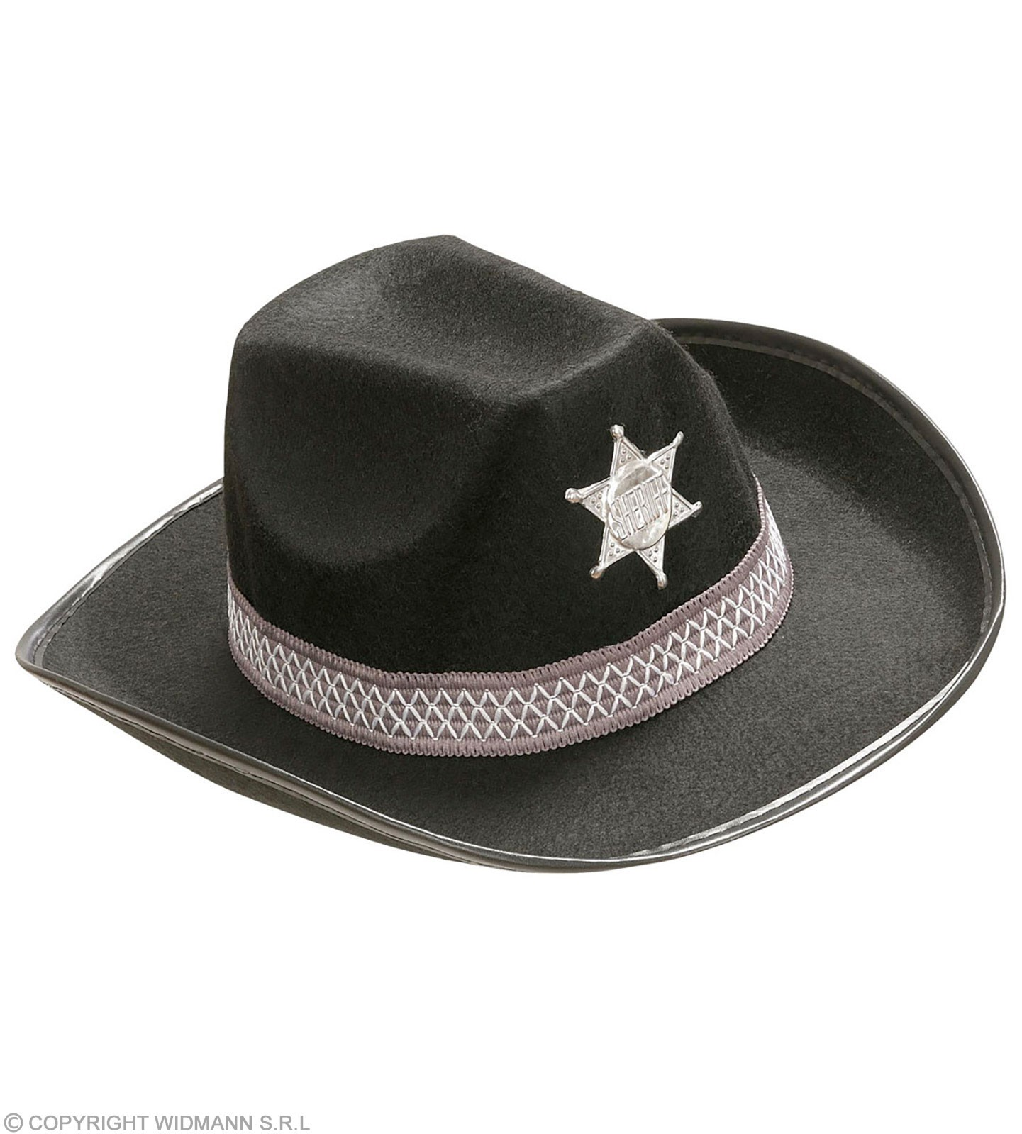 Child Size Black Felt Sheriff Hat Fancy Dress Boys
