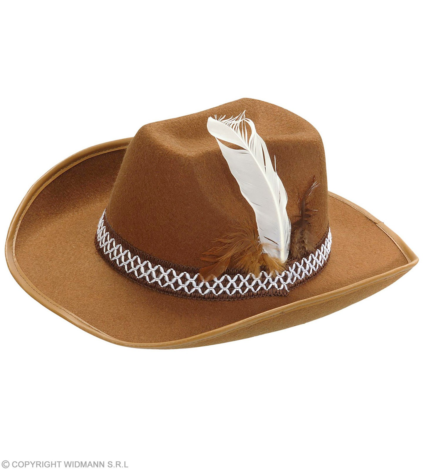 Child Brown Felt Cowboy Hat With Feathers Fancy Dress