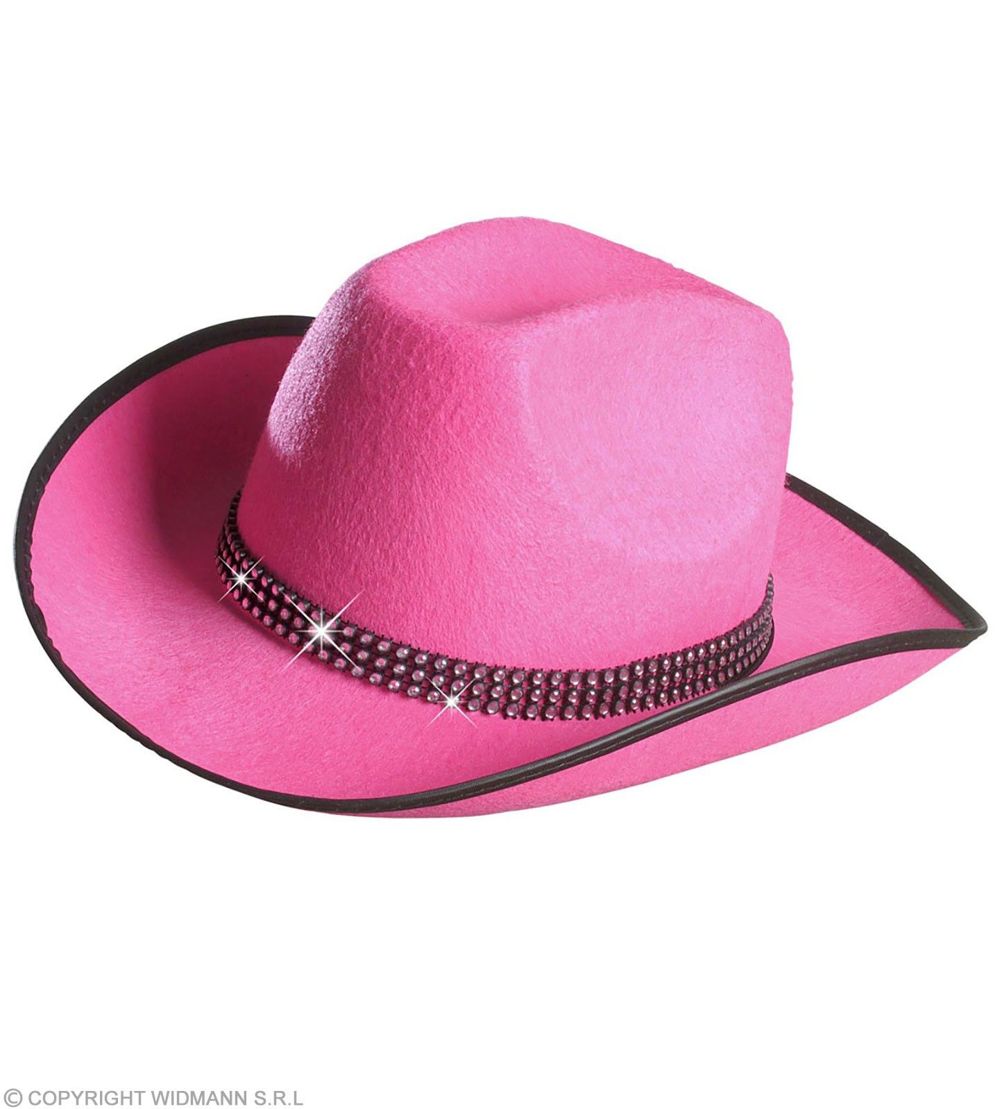 Cowboy Hat Felt W/Strass Band - Pink - Fancy Dress (Cowboys/Native Americans)