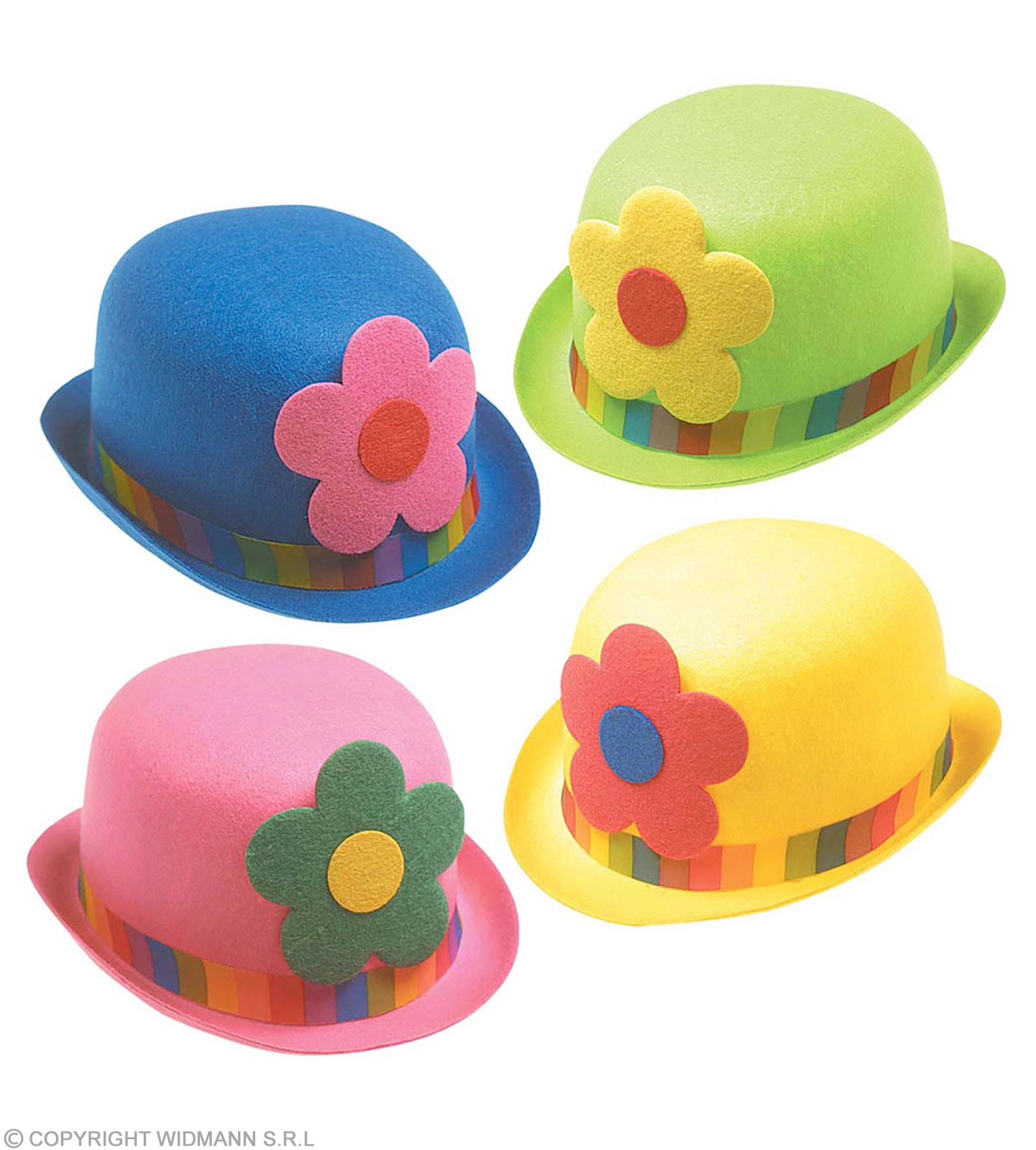 Clown Bowler Hat Felt W Flowers - Fancy Dress (Clowns)