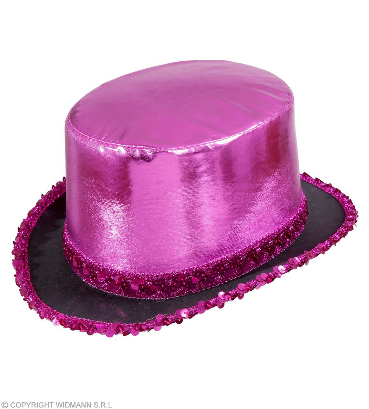 Top Hat Pink Lame' With Sequin Trim - Fancy Dress