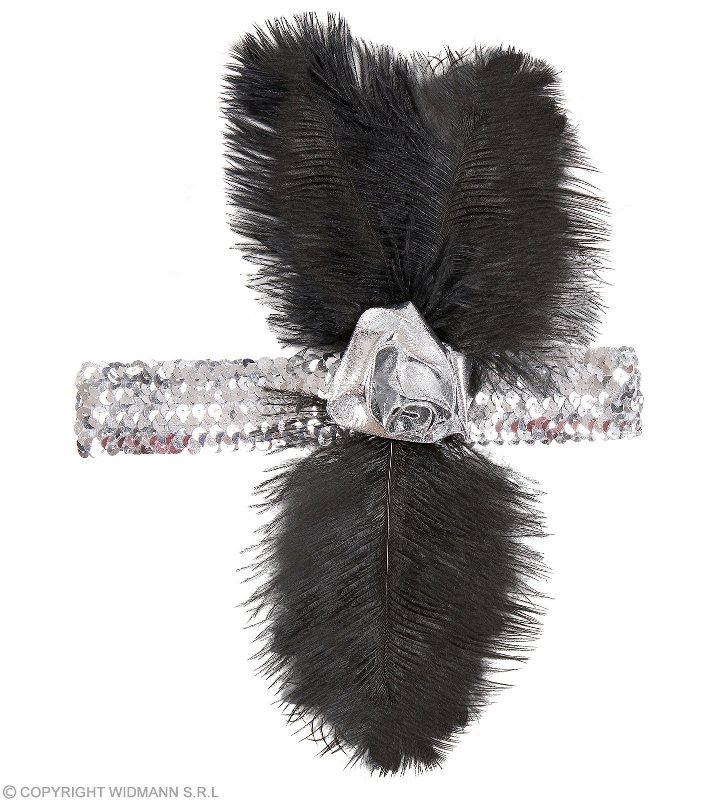 1920S Silver Sequin Headbands Flower & Feather Fancy Dress (1920S)