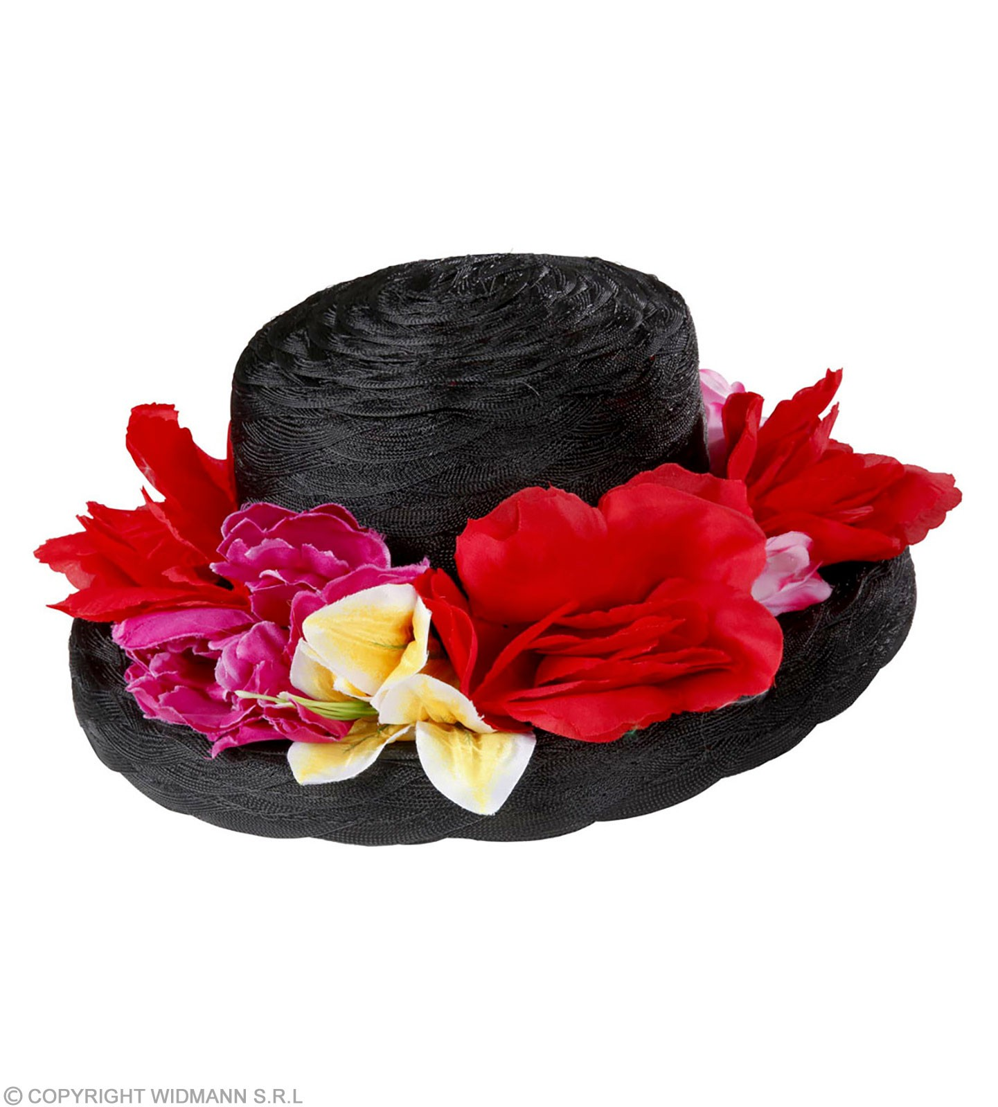 Black Lady Hat With Flowers - Fancy Dress
