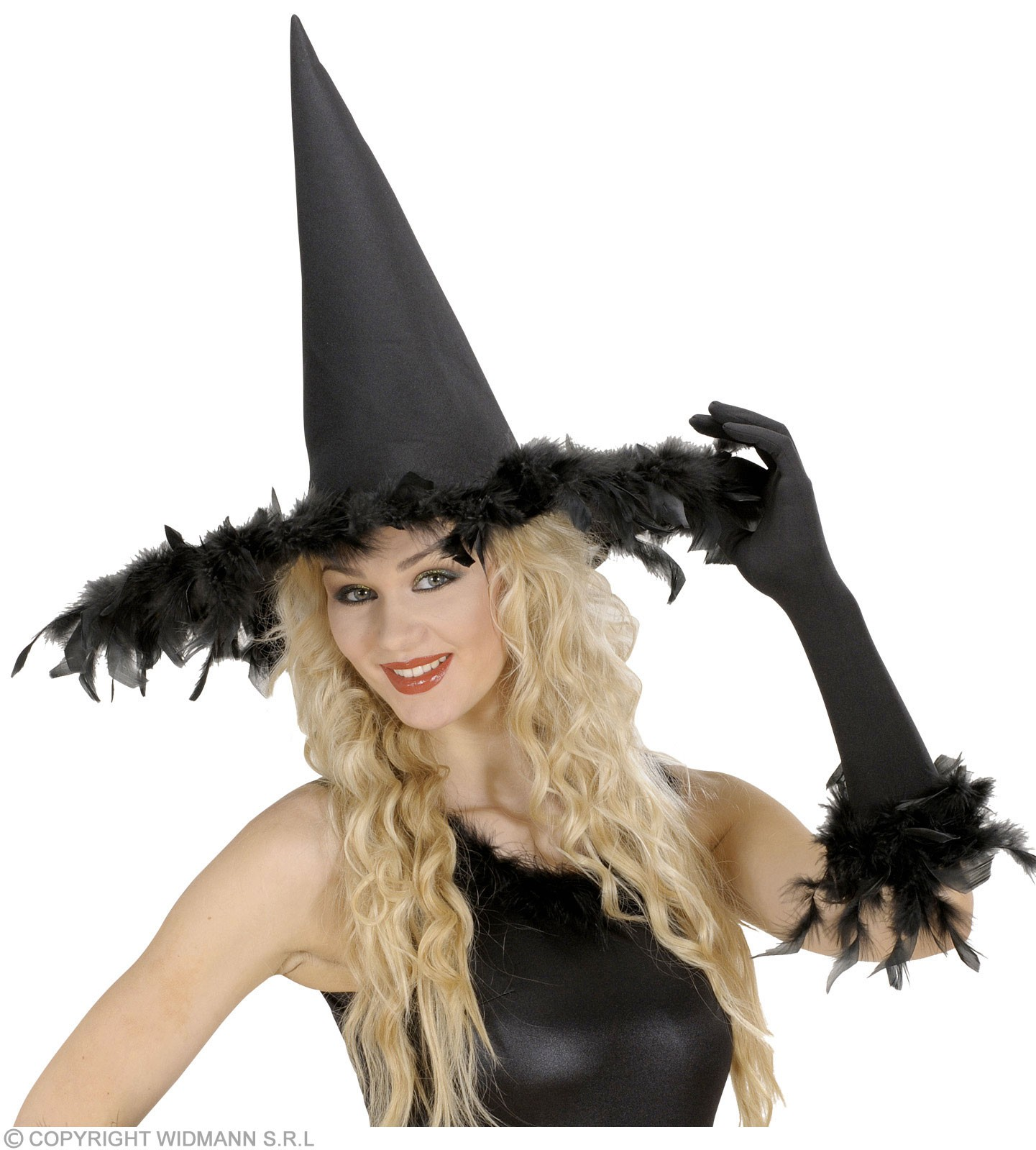 Witch Hats With Feathers - Fancy Dress (Halloween)