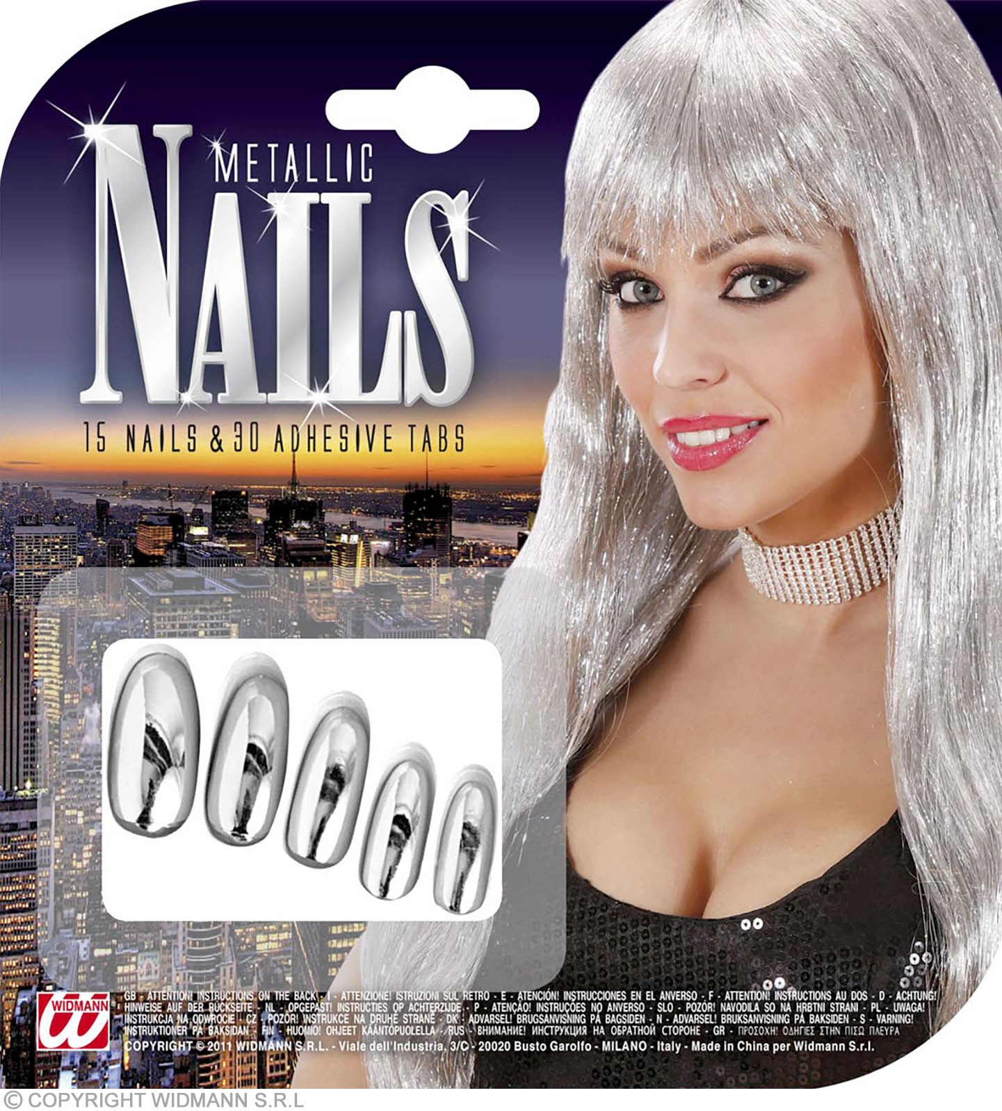 Metallised Nails Silver - Fancy Dress