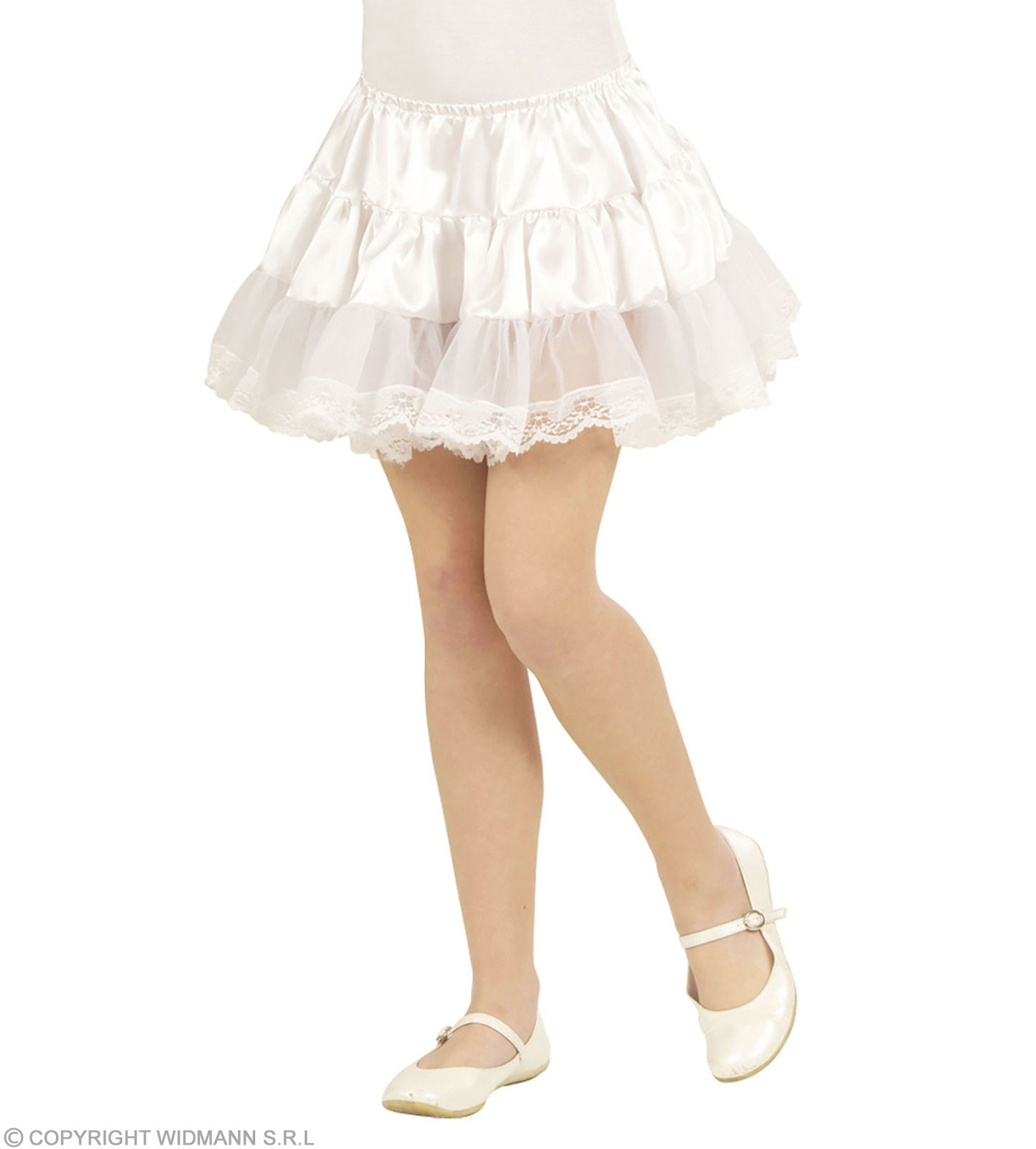 Child Size Satin & Lace White Petticoats Fancy Dress