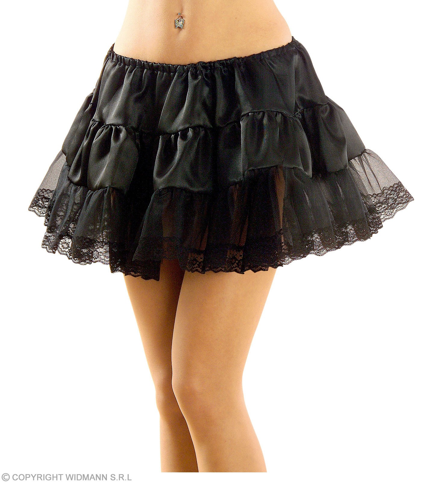 Petticoat Satin / Lace Black Fancy Dress Costume
