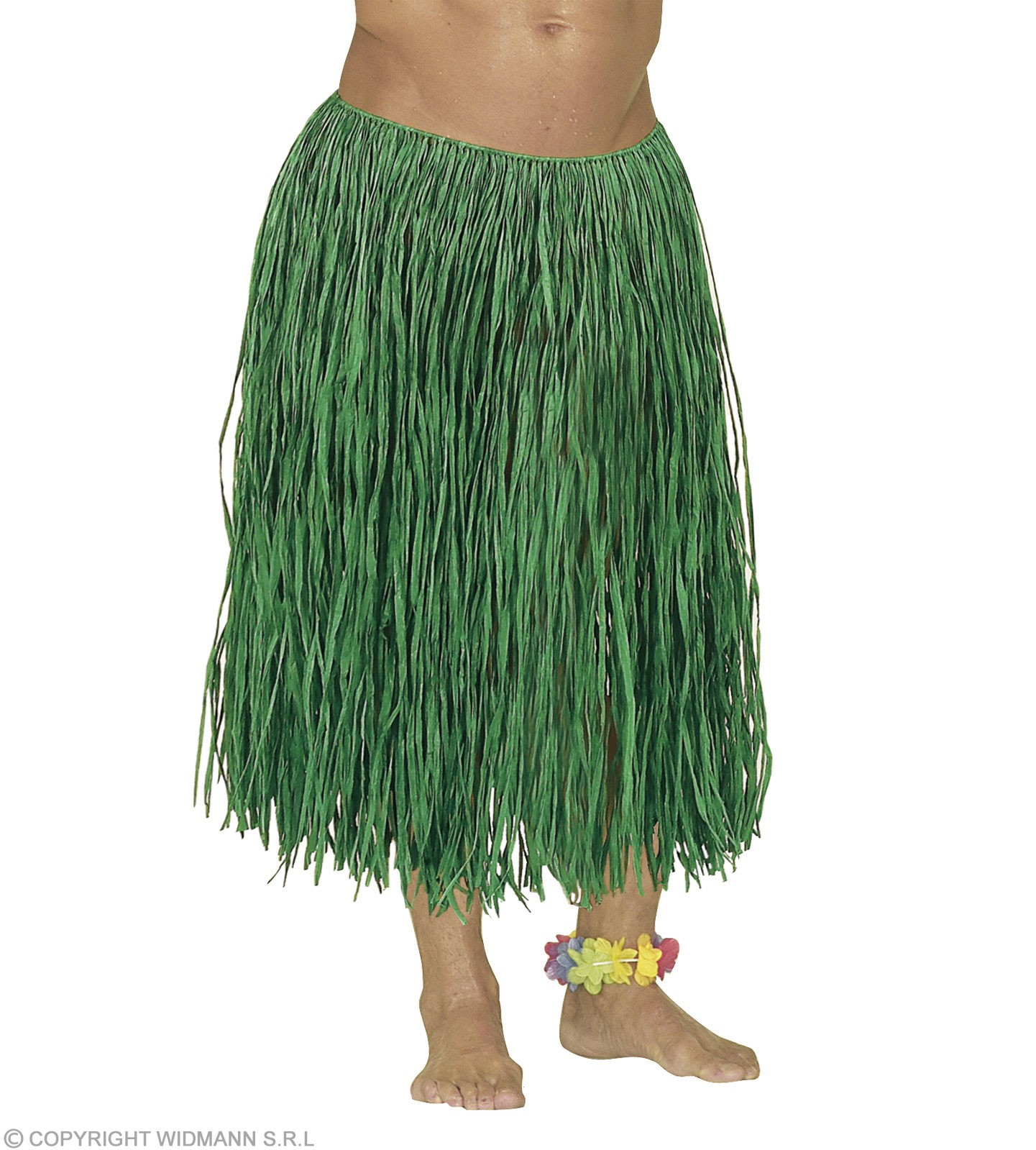 Raffia Hawaiian Skirt Green Colour 78Cm - Fancy Dress (Hawaiian)