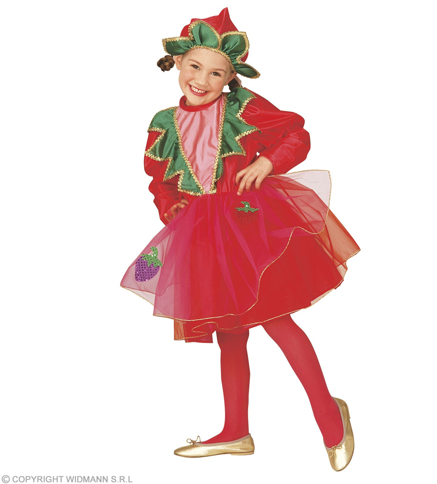 Strawberry With Dress, Headpiece Fancy Dress Girls (Food)