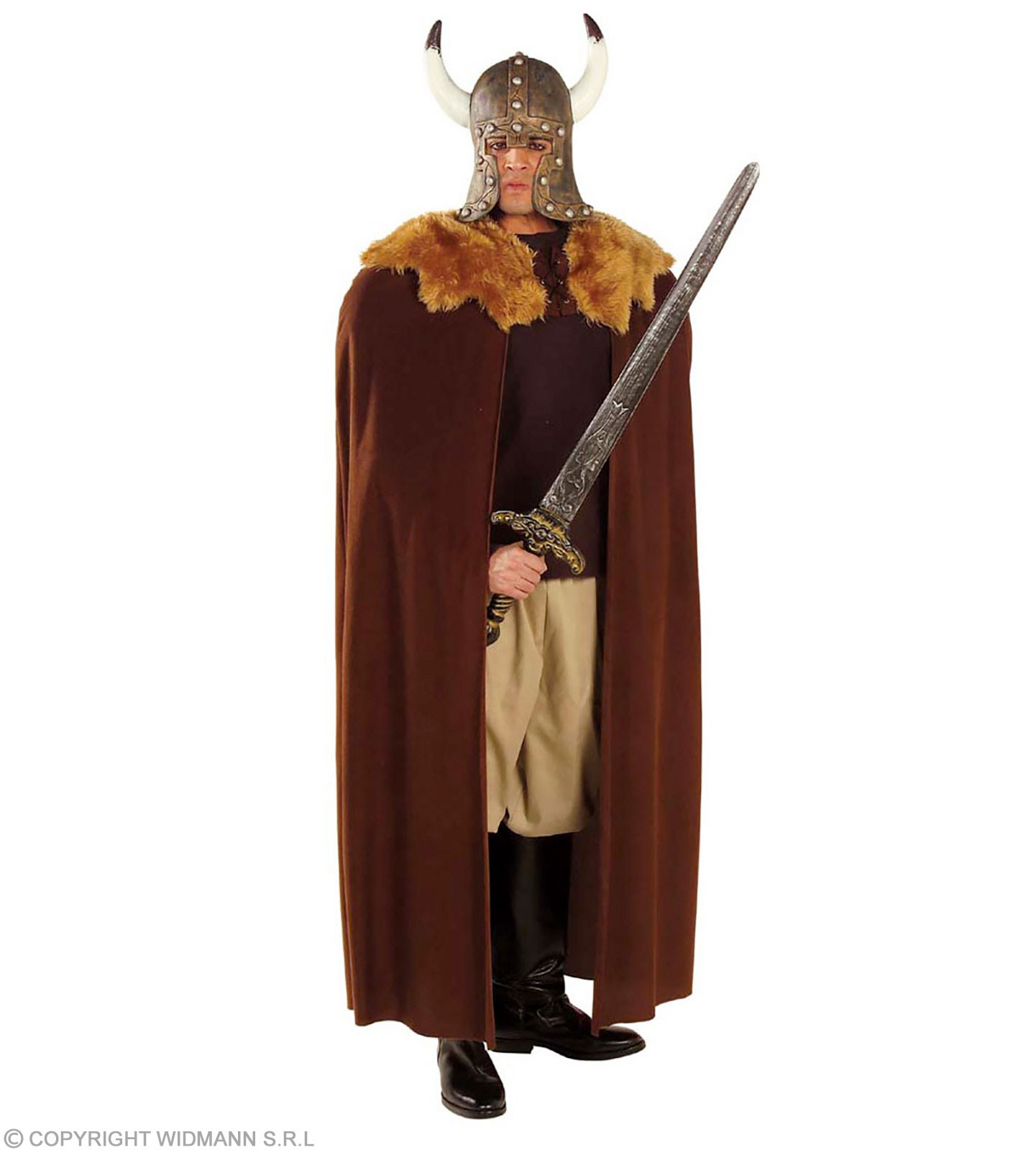 Brown Warrior Cape W/Plush Collar 140Cm Costume (Halloween)