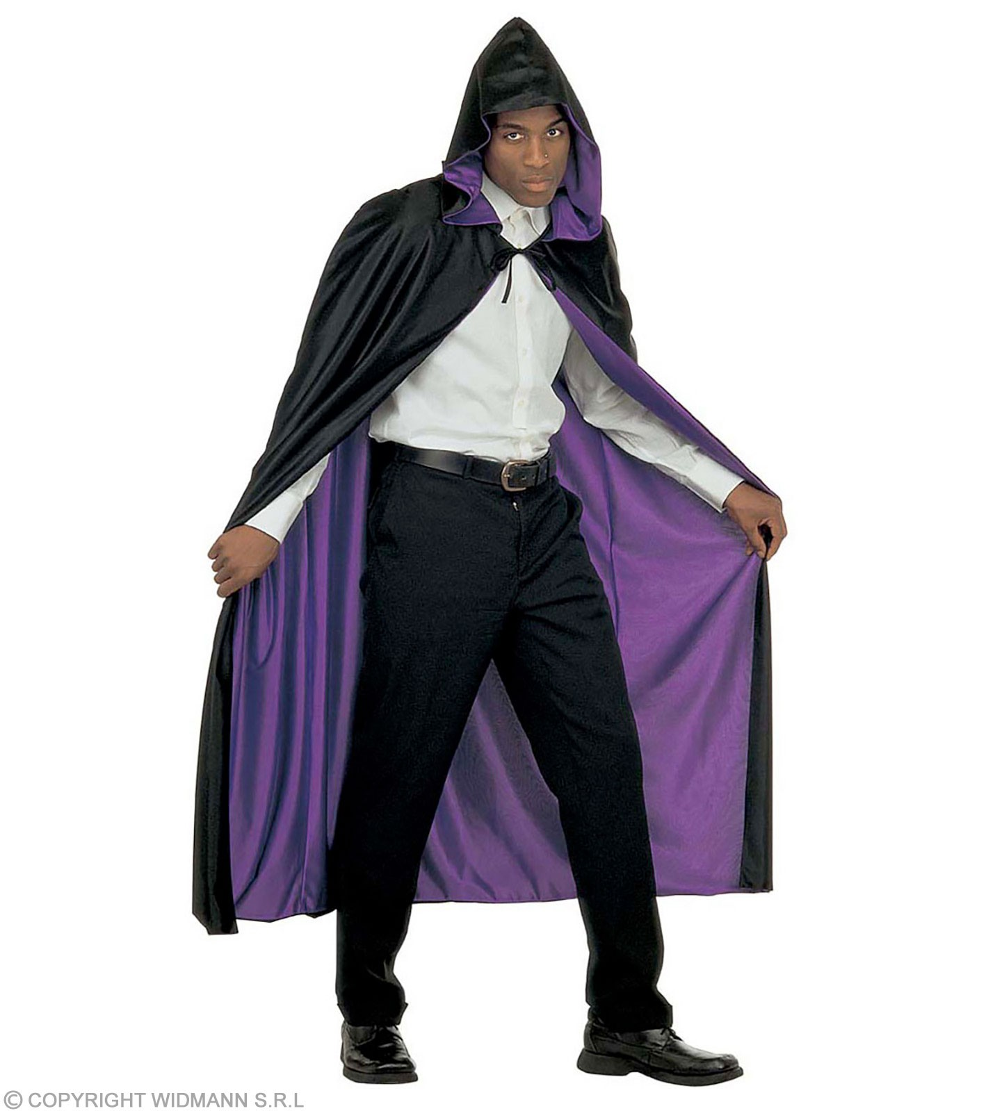 Hooded Cape Blk/Pple Reversible 140Cm Costume (Halloween)