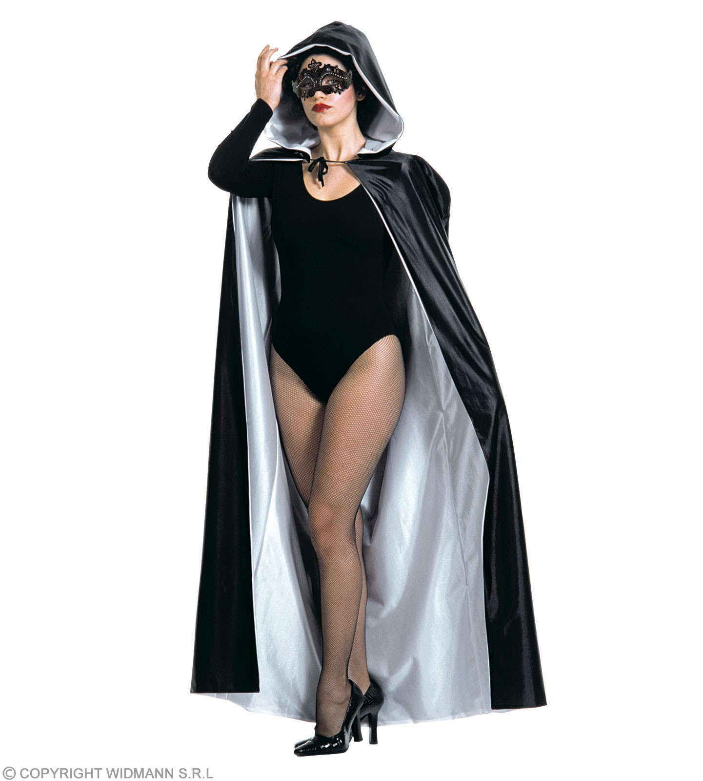 Hooded Cape Super Deluxe 140Cm Black/White Costume (Halloween)