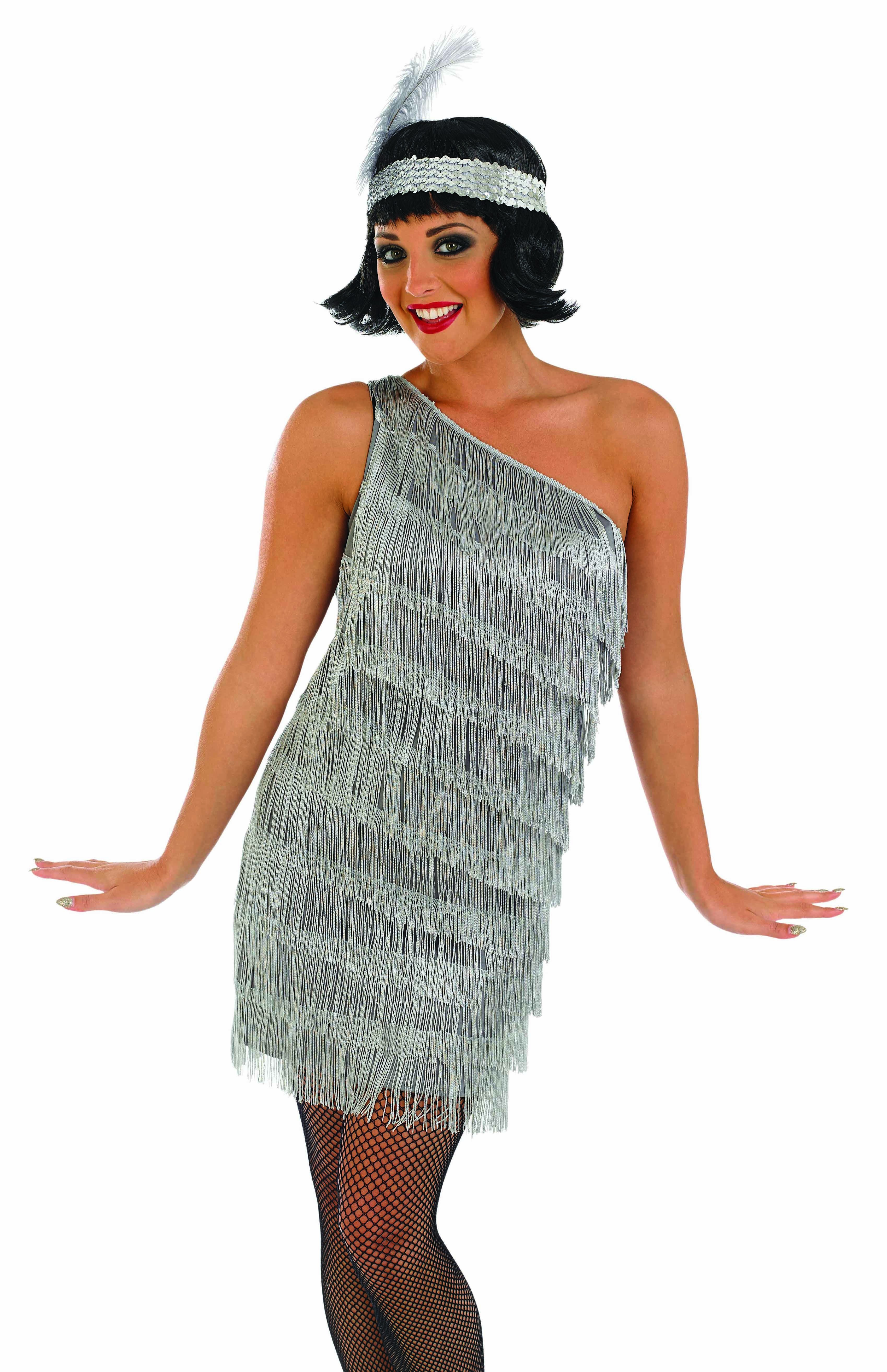Ladies Silver 20'S Style Flapper Dress