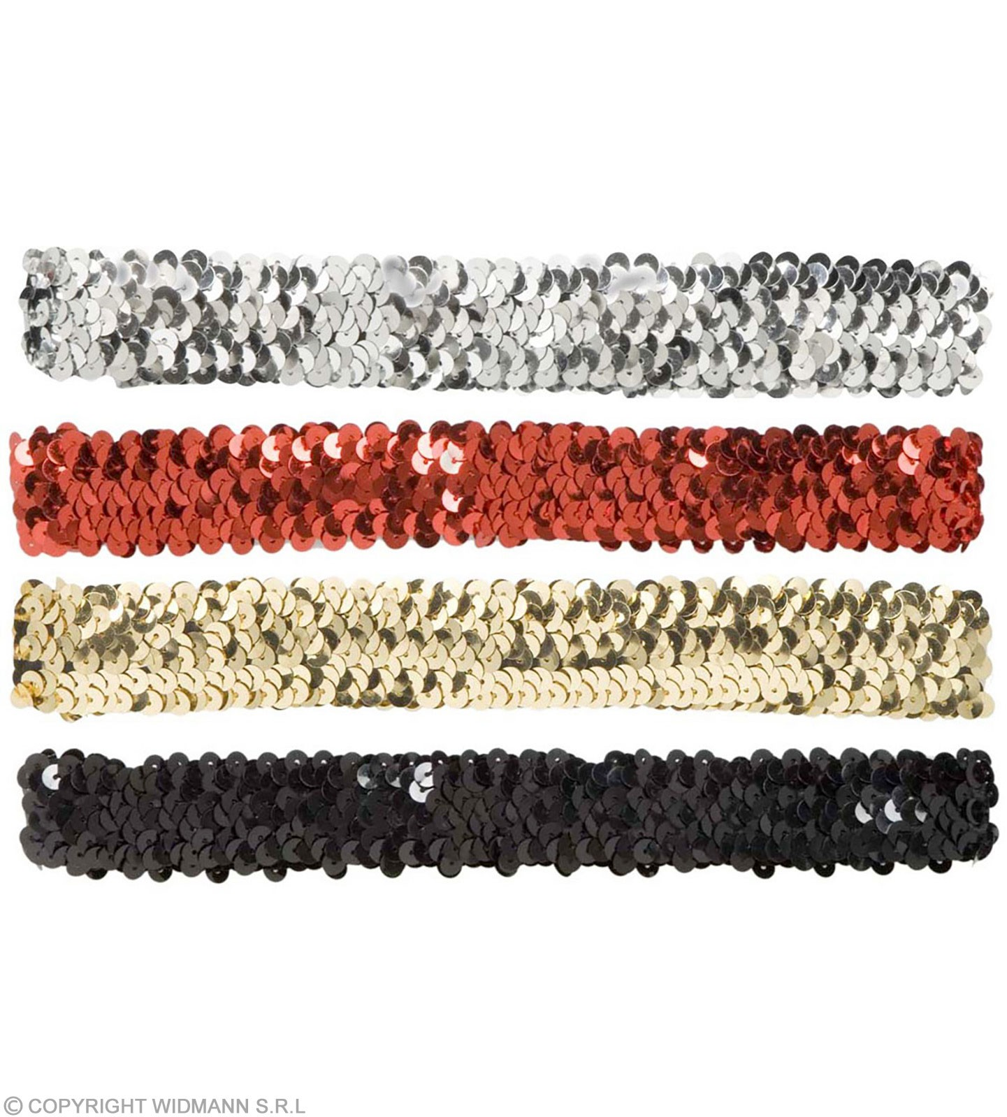 Sequin Headbands Asstd Gold/Silv/Red/Black Fancy Dress