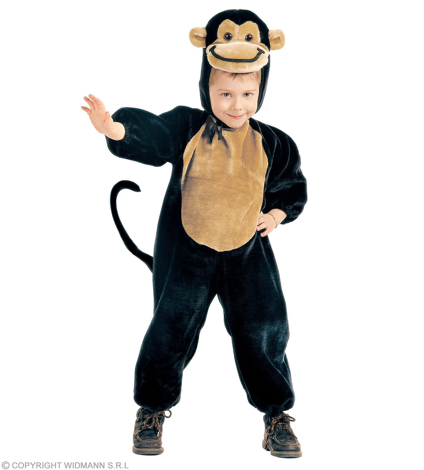 Plush Monkey - Jumpsuit, Headpiece Costume Kids Age 3-4 (Animals)