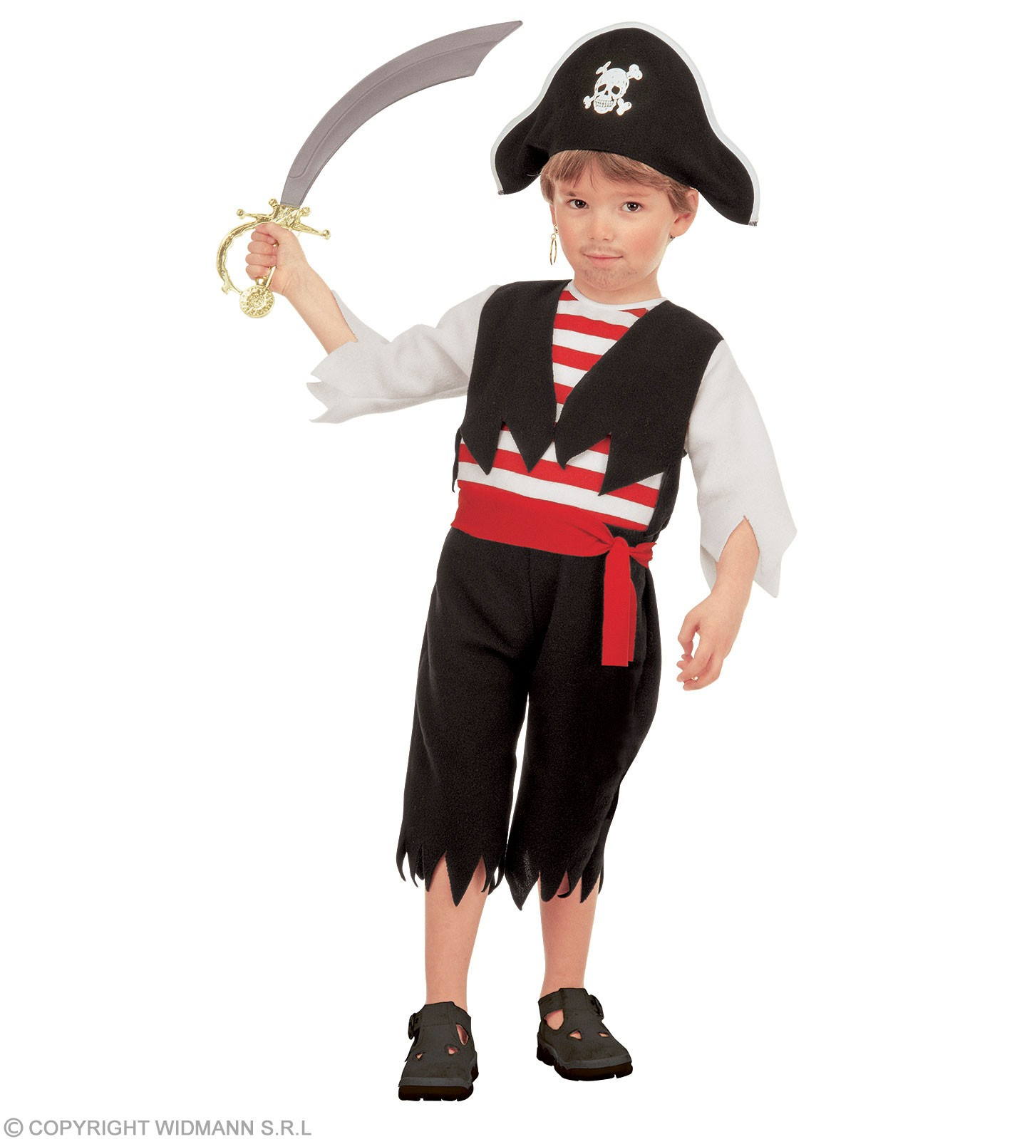 Pirate & Jumpsuit, Hat, Belt, Costume Age 2-3 (Pirates)