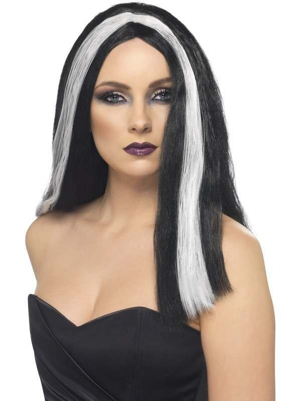 Witch/Vampira Wig - Fancy Dress Ladies (Halloween) - Black/White