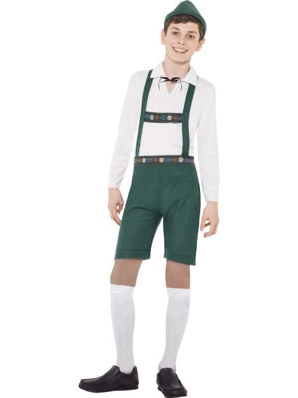 Bavarian Boys Costume, Green,Includes: Lederhosen Shorts With Braces, Top And Hat.
