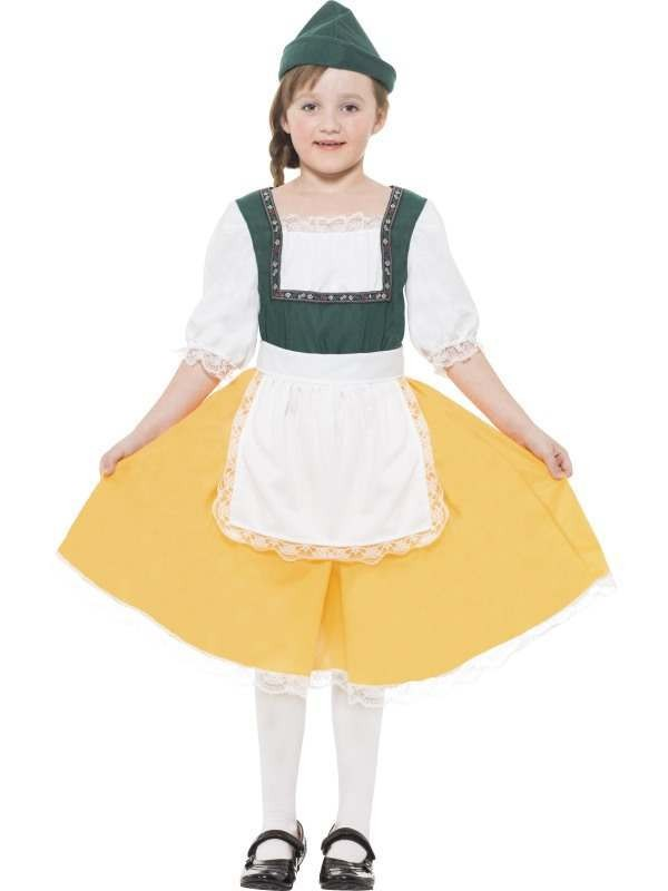 Girls Yellow Bavarian Fancy Dress Costume